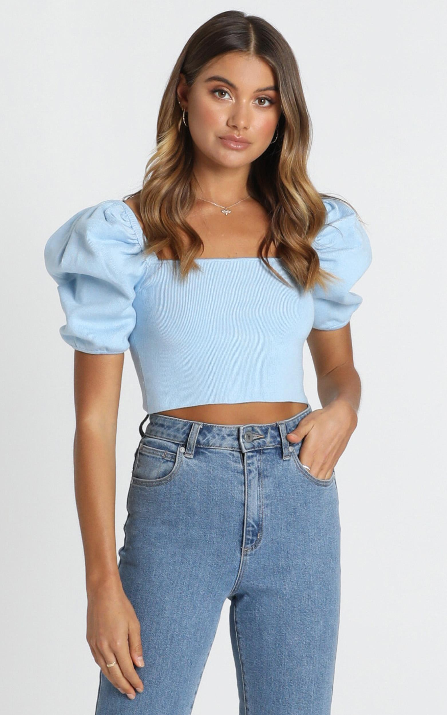 Far To Go knit top in blue - M/L, Blue, hi-res image number null