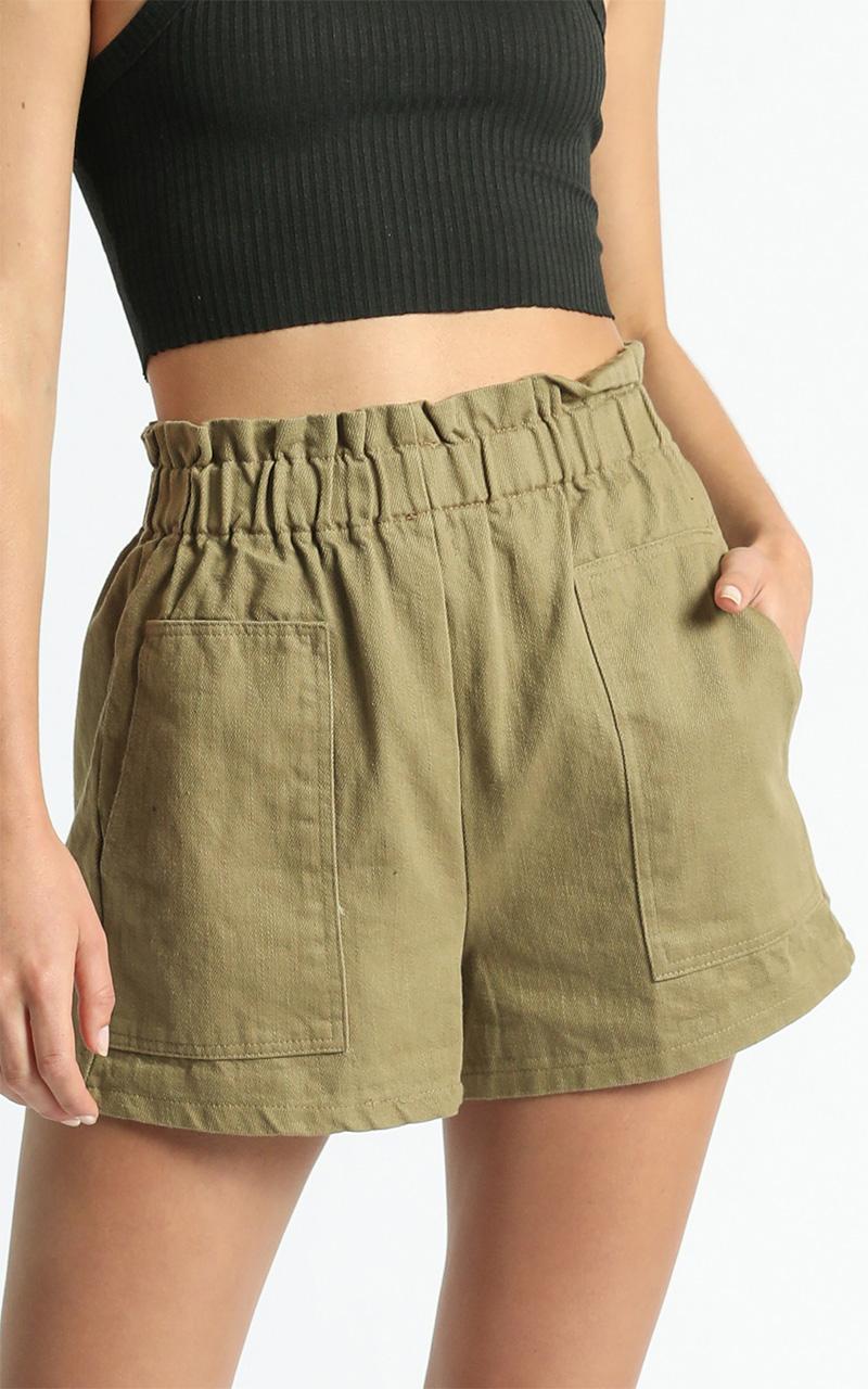 Tell A Friend Shorts in Khaki - 6 (XS), Khaki, hi-res image number null