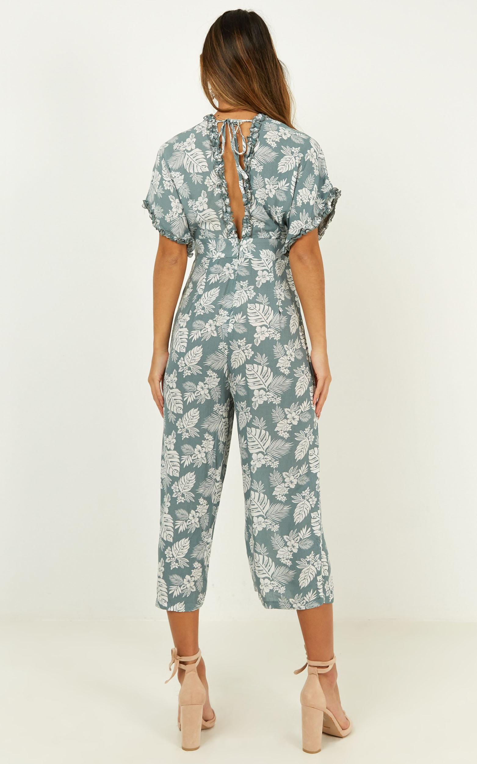 Just Your Memory jumpsuit in sage floral - 12 (L), Green, hi-res image number null