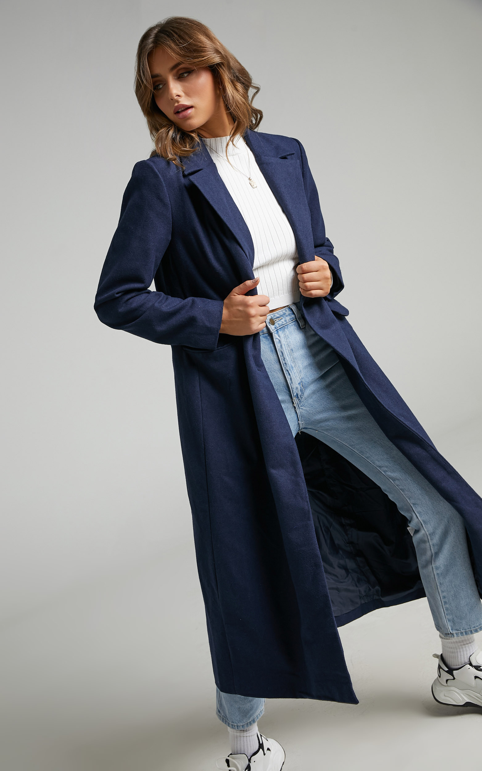 Lizah Button Up Trench Coat in Navy - 06, NVY1, hi-res image number null