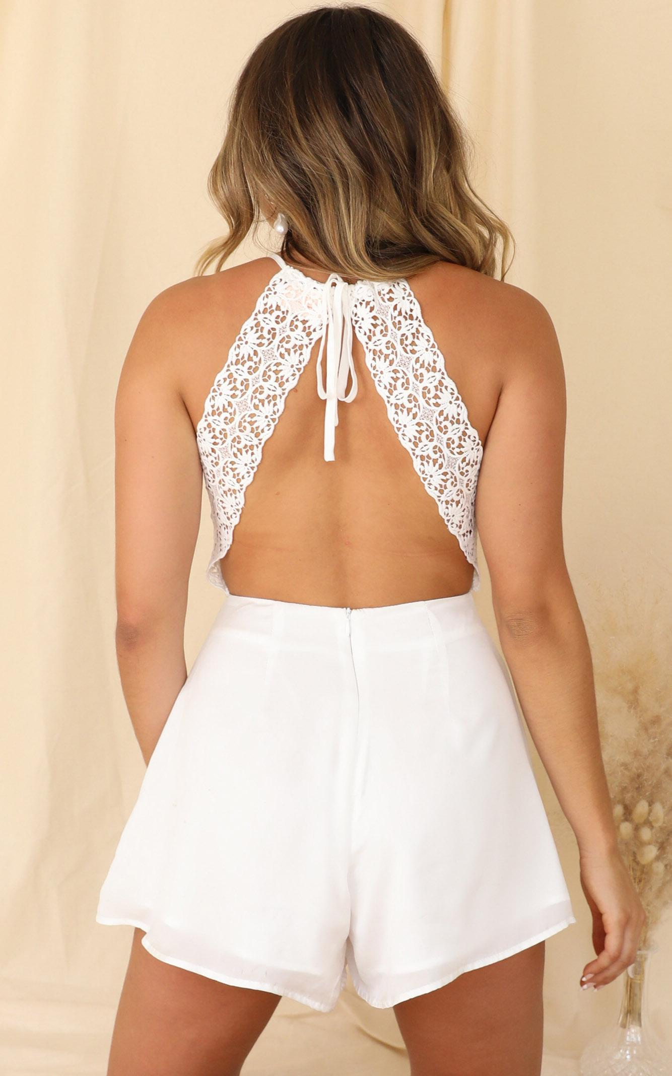 See Clearly Now Playsuit in white satin - 14 (XL), White, hi-res image number null