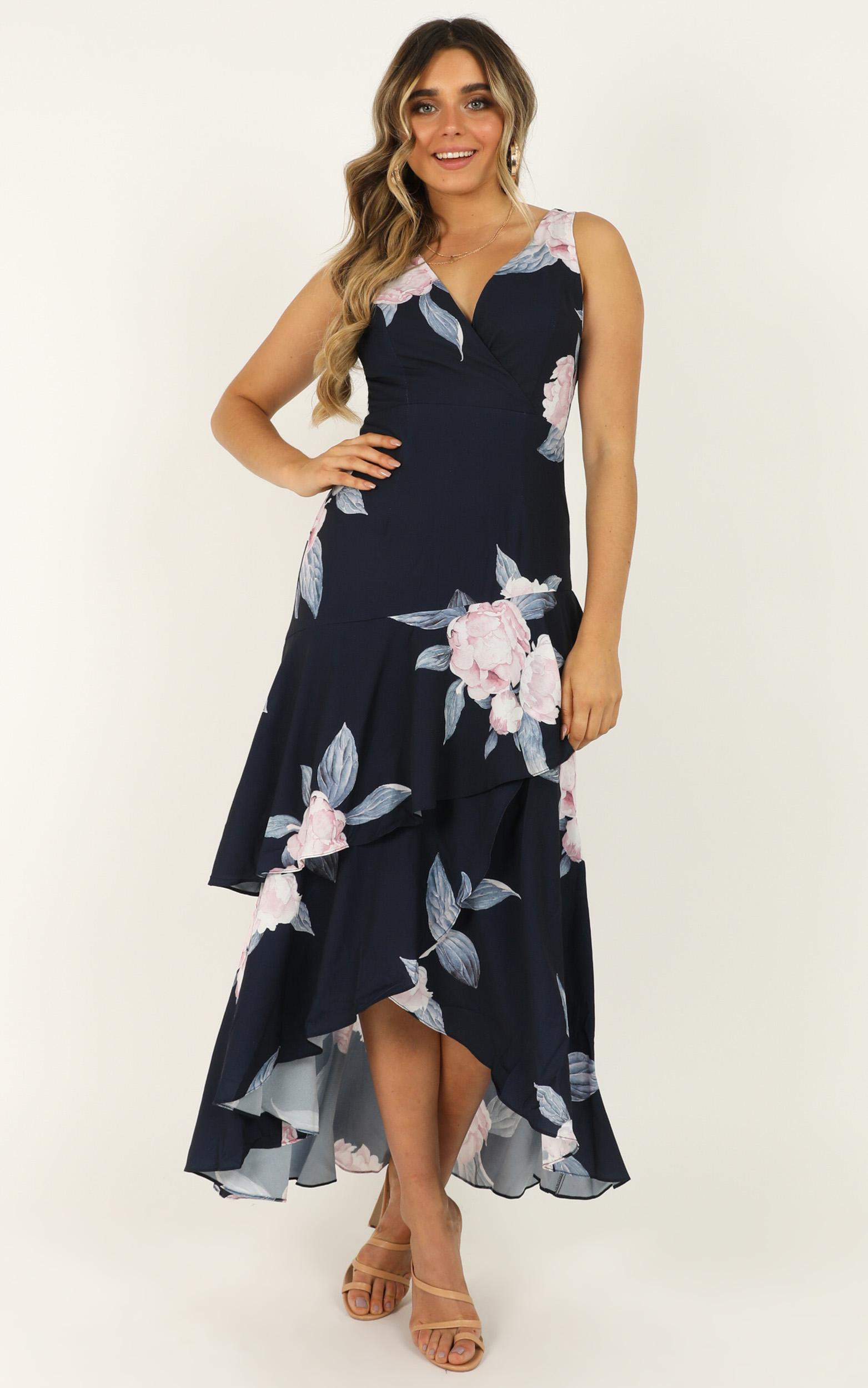 Big Investment dress in navy floral - 16 (XXL), Navy, hi-res image number null