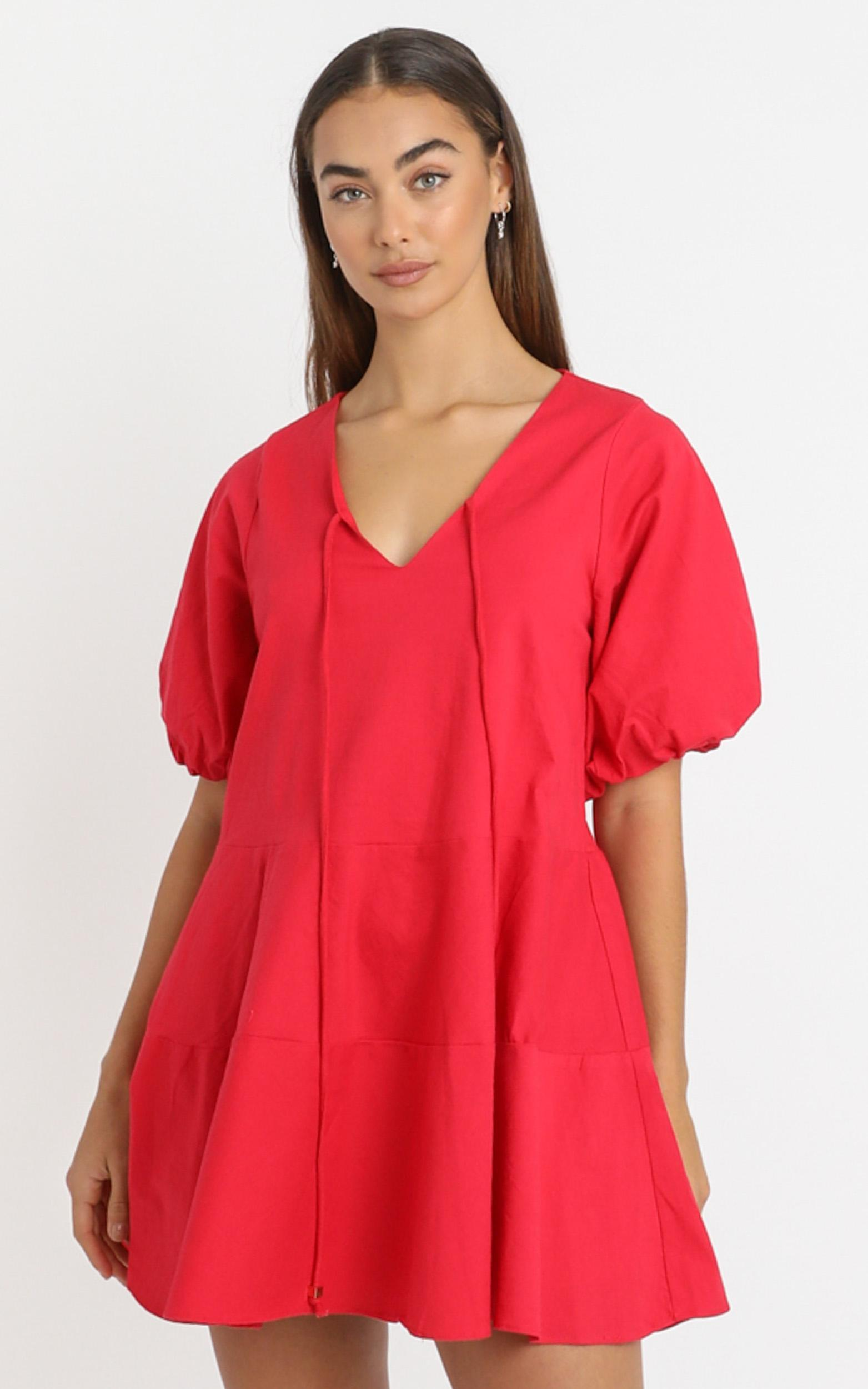 Krizza Mini Dress in red linen look - 6 (XS), RED1, hi-res image number null