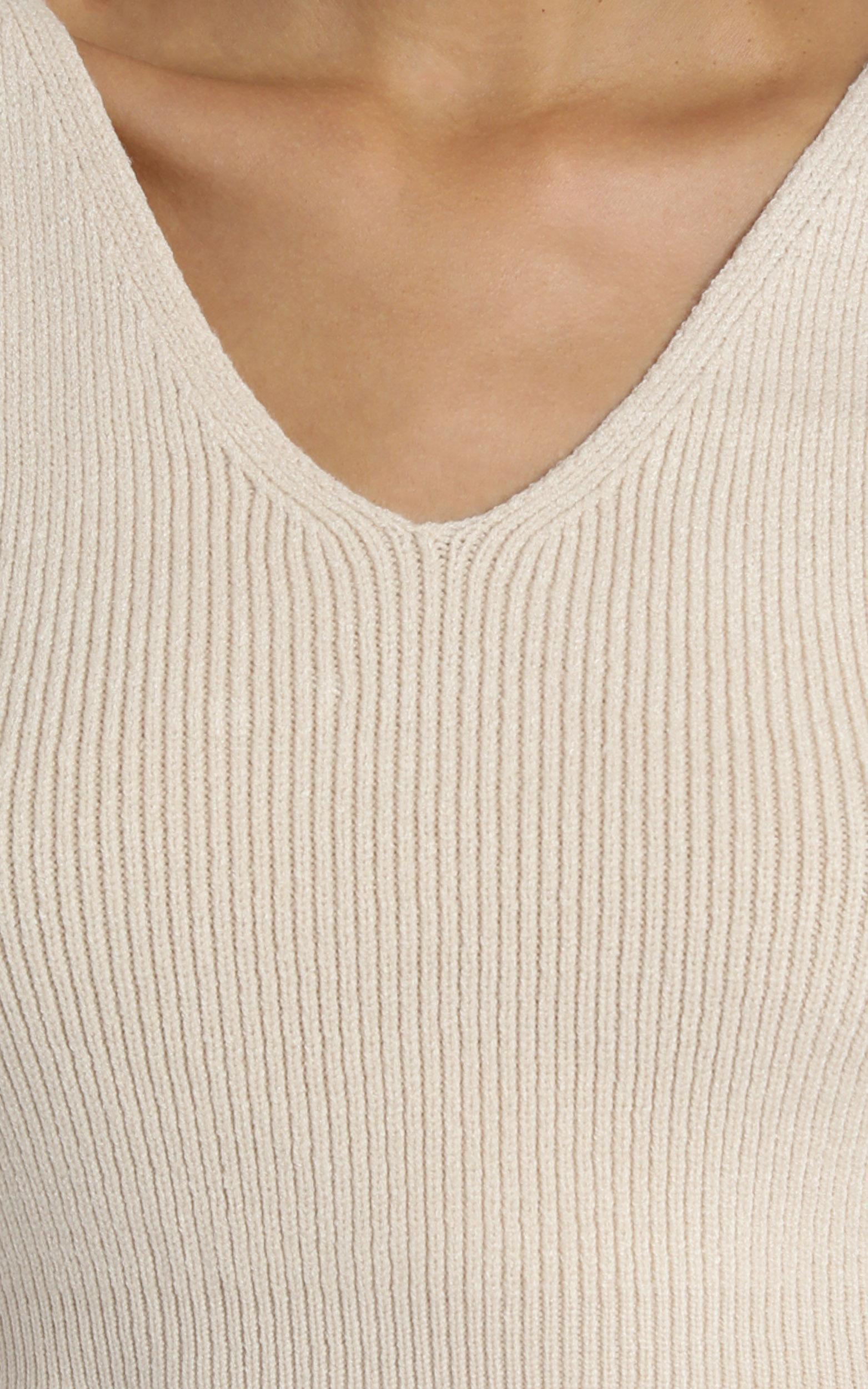 Yana Knit Top in Beige - 8 (S), Beige, hi-res image number null