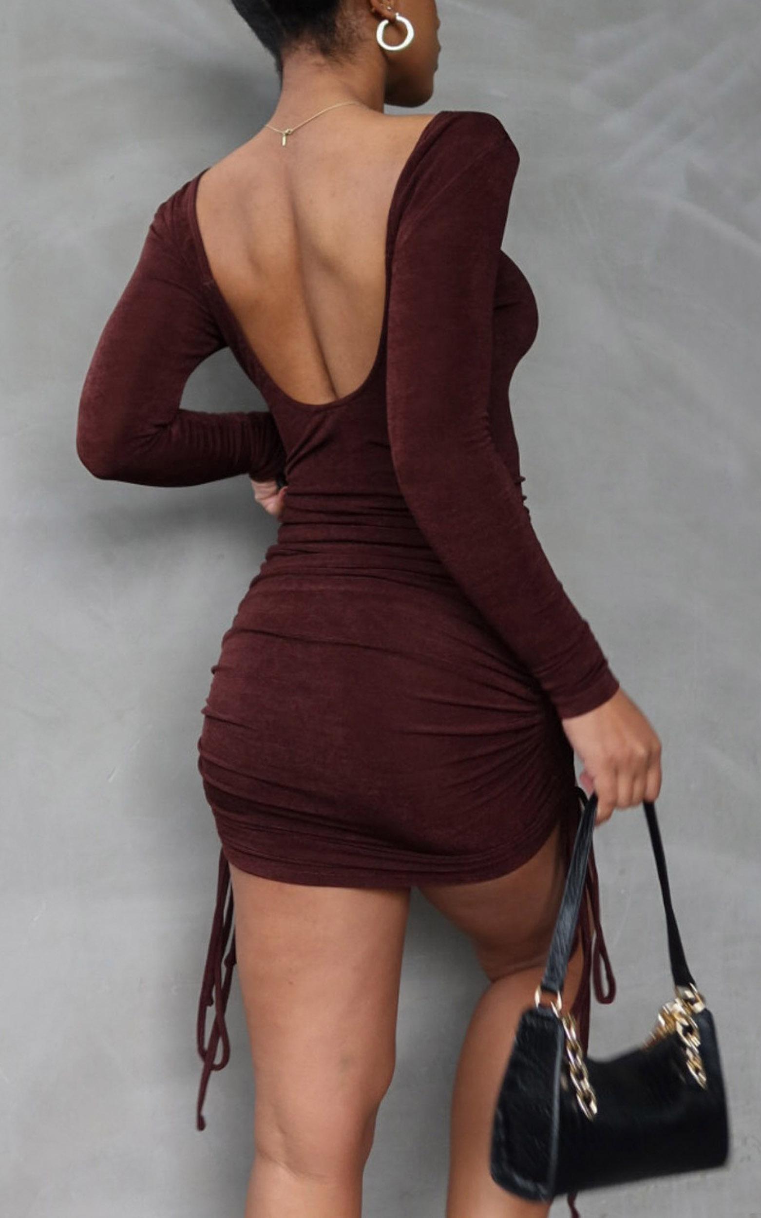 Fernanda Open Scoop Back Dress in Chocolate - 06, BRN2, hi-res image number null
