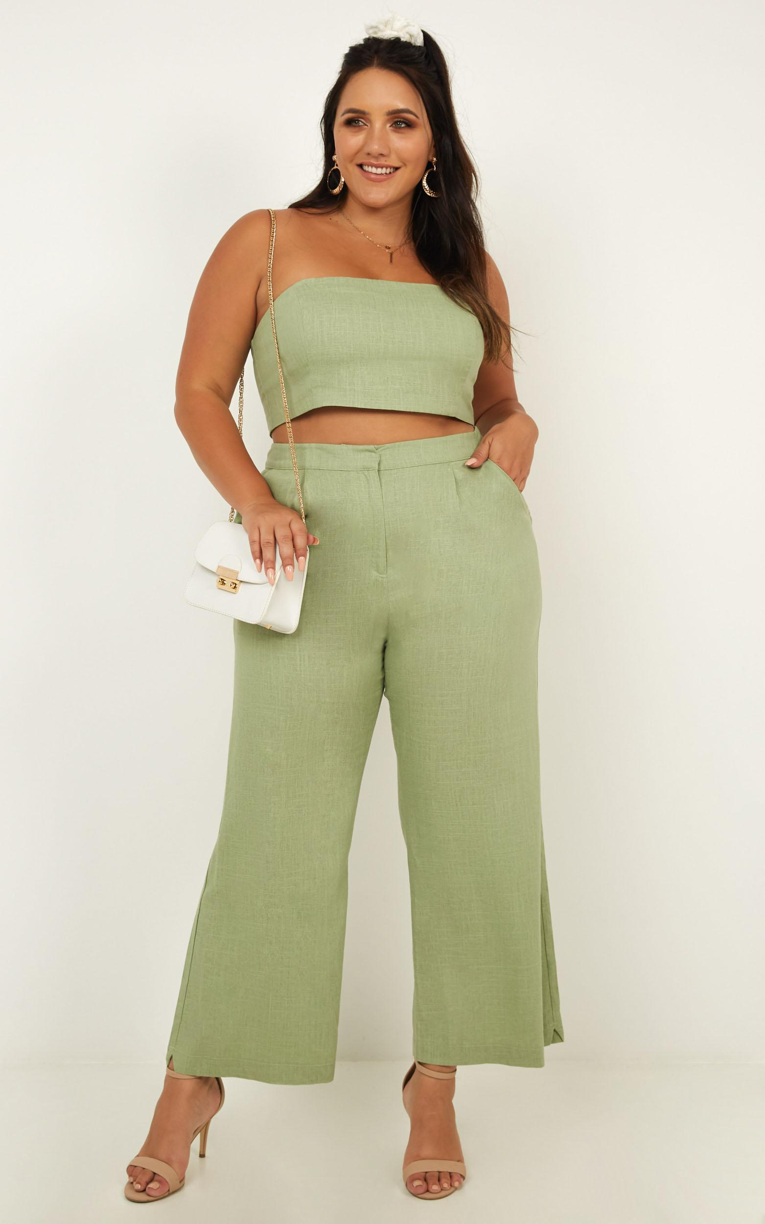 North Street Two Piece Set In sage linen look - 18 (XXXL), Sage, hi-res image number null