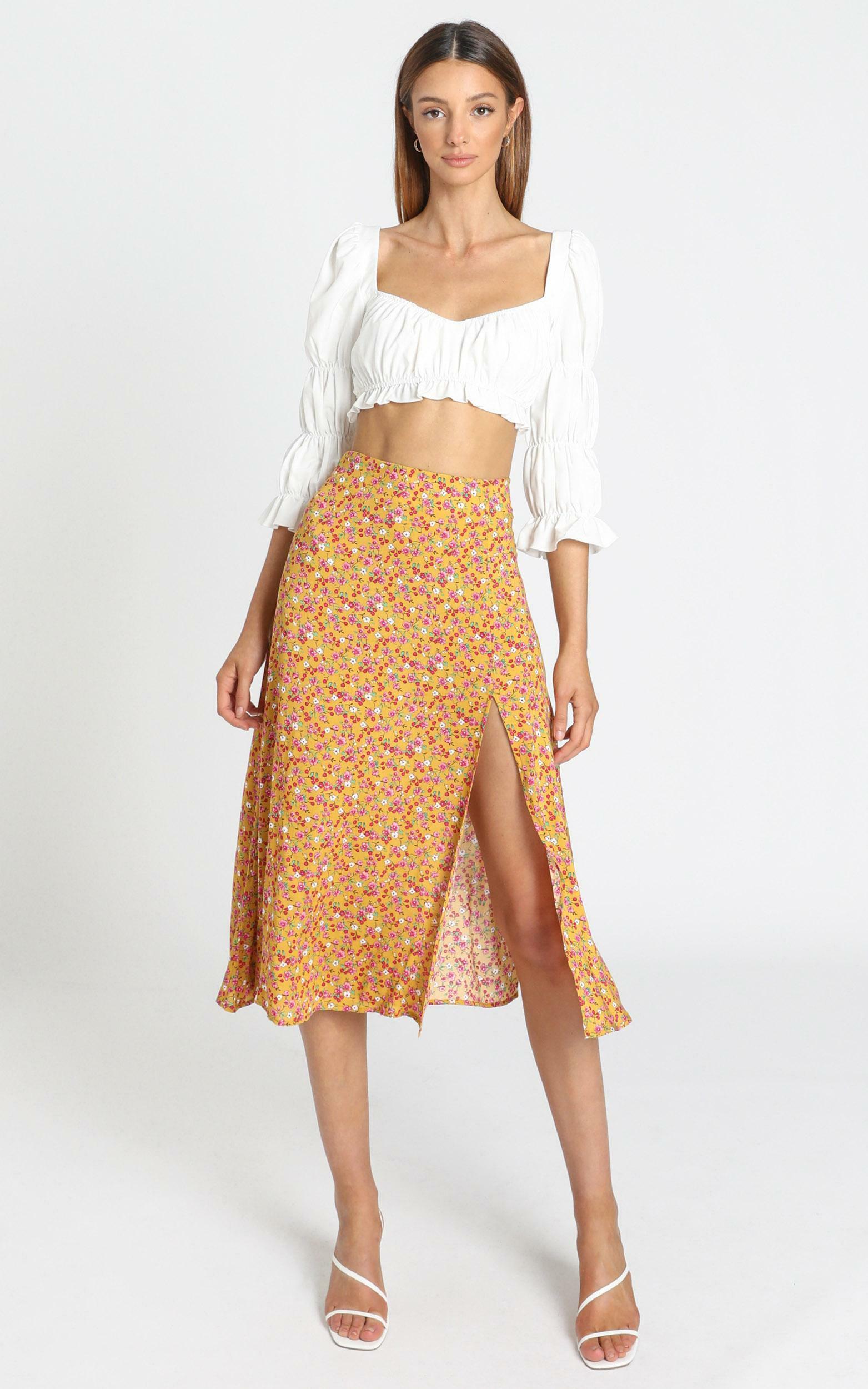 Kourtney Skirt in Mustard Floral - 06, YEL1, hi-res image number null