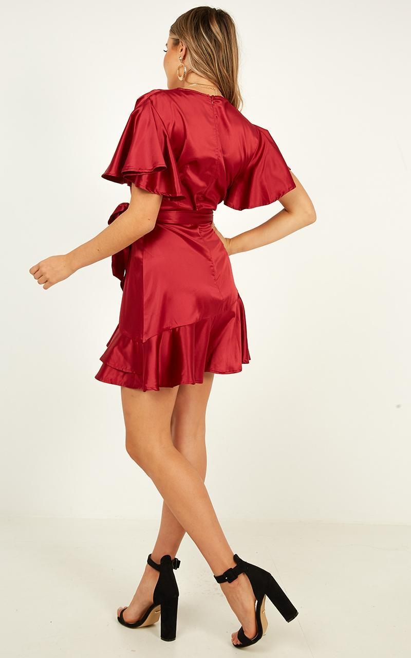 Mingling with you dress in wine satin - 14 (XL), Wine, hi-res image number null