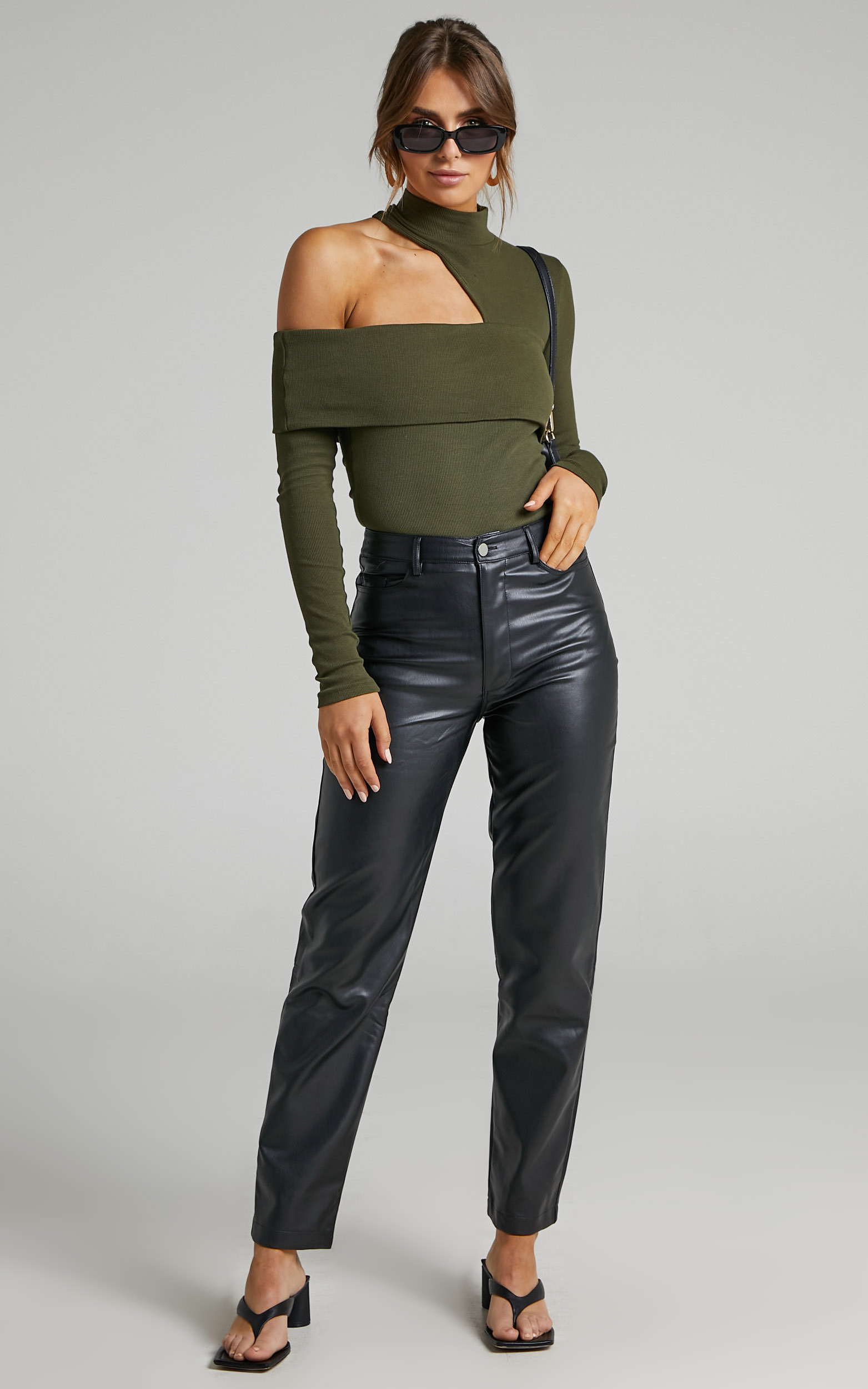 Kiefer Asymmetric Cutout Top in Khaki - 06, GRN2, hi-res image number null