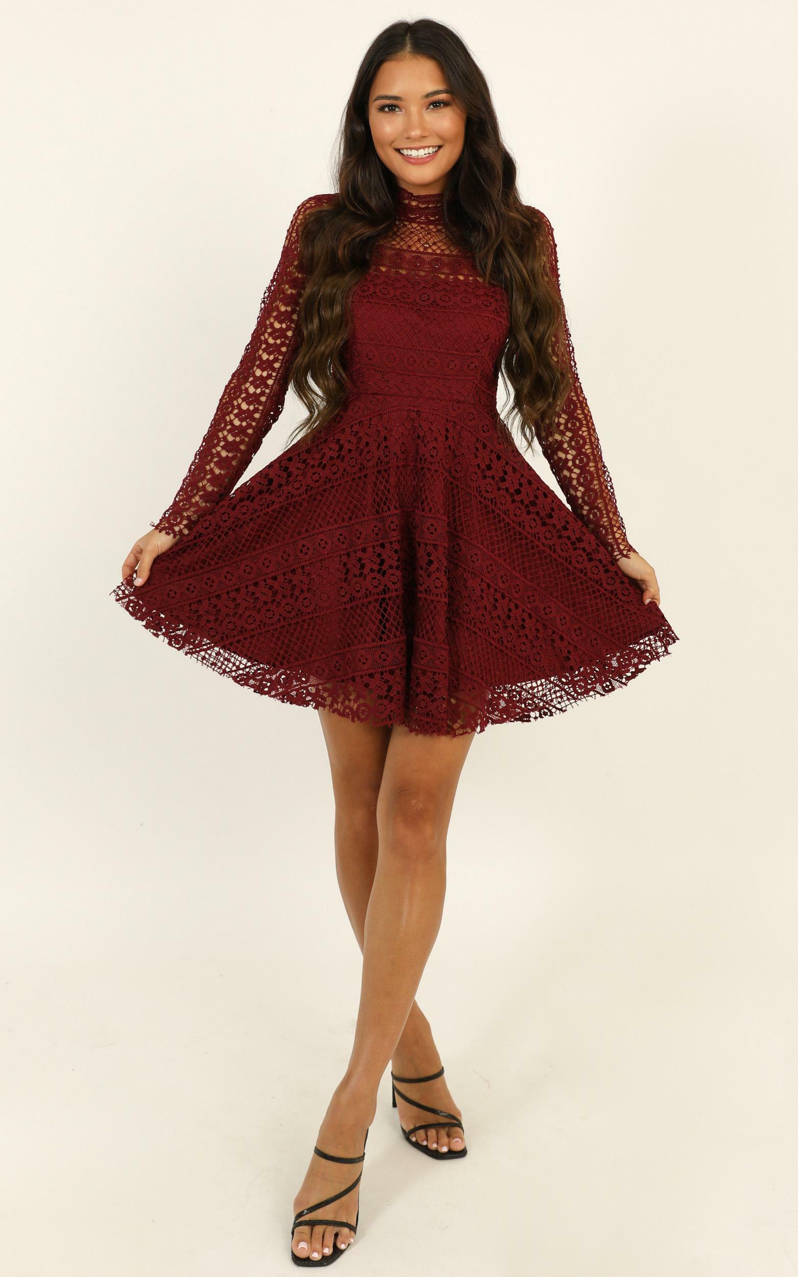 Hidden Figures Dress in wine lace - 20 (XXXXL), Wine, hi-res image number null