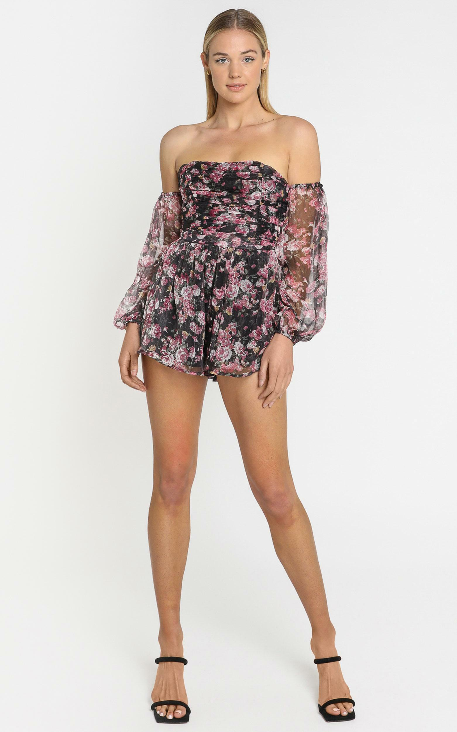 Leighton Ruched Playsuit in romantic black floral - 4 (XXS), Black, hi-res image number null