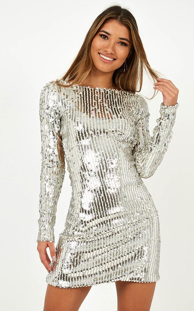 The Heartbreaker Mini Dress in silver - 14 (XL), Silver, hi-res image number null