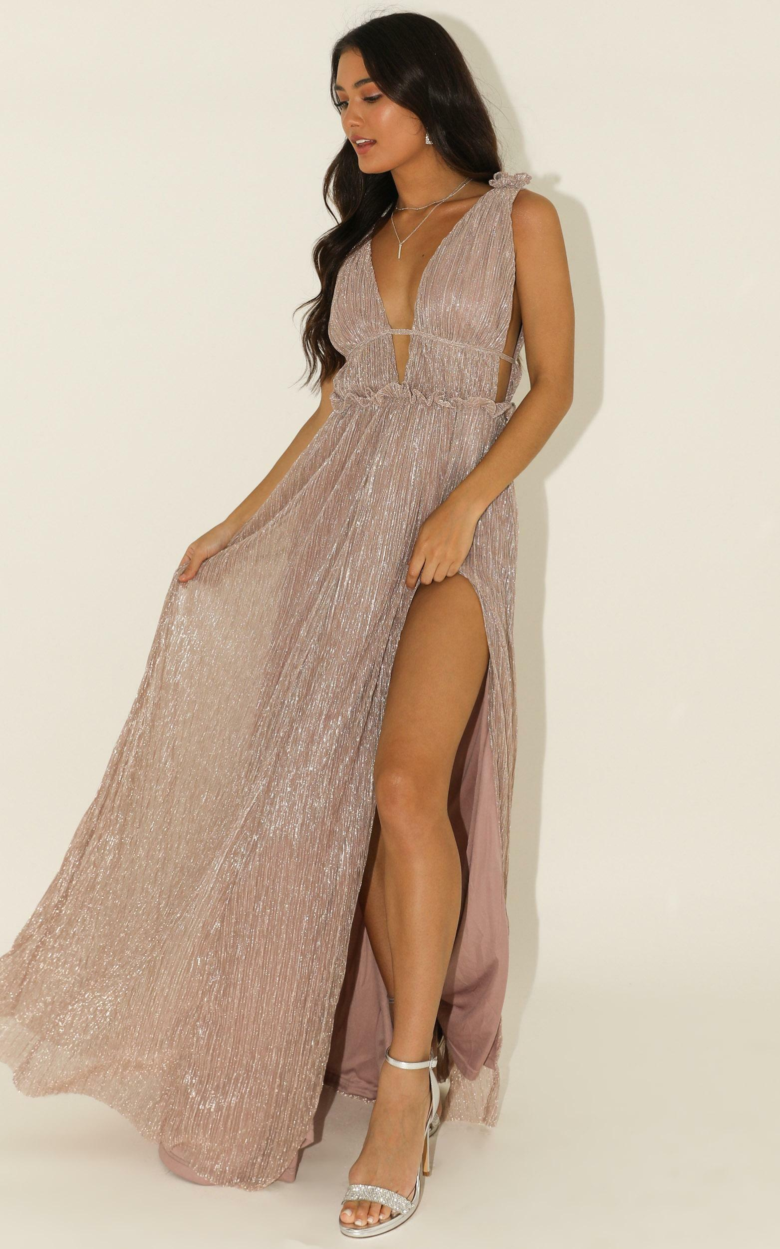 If This Was A Movie maxi dress in blush lurex - 12 (L), Blush, hi-res image number null