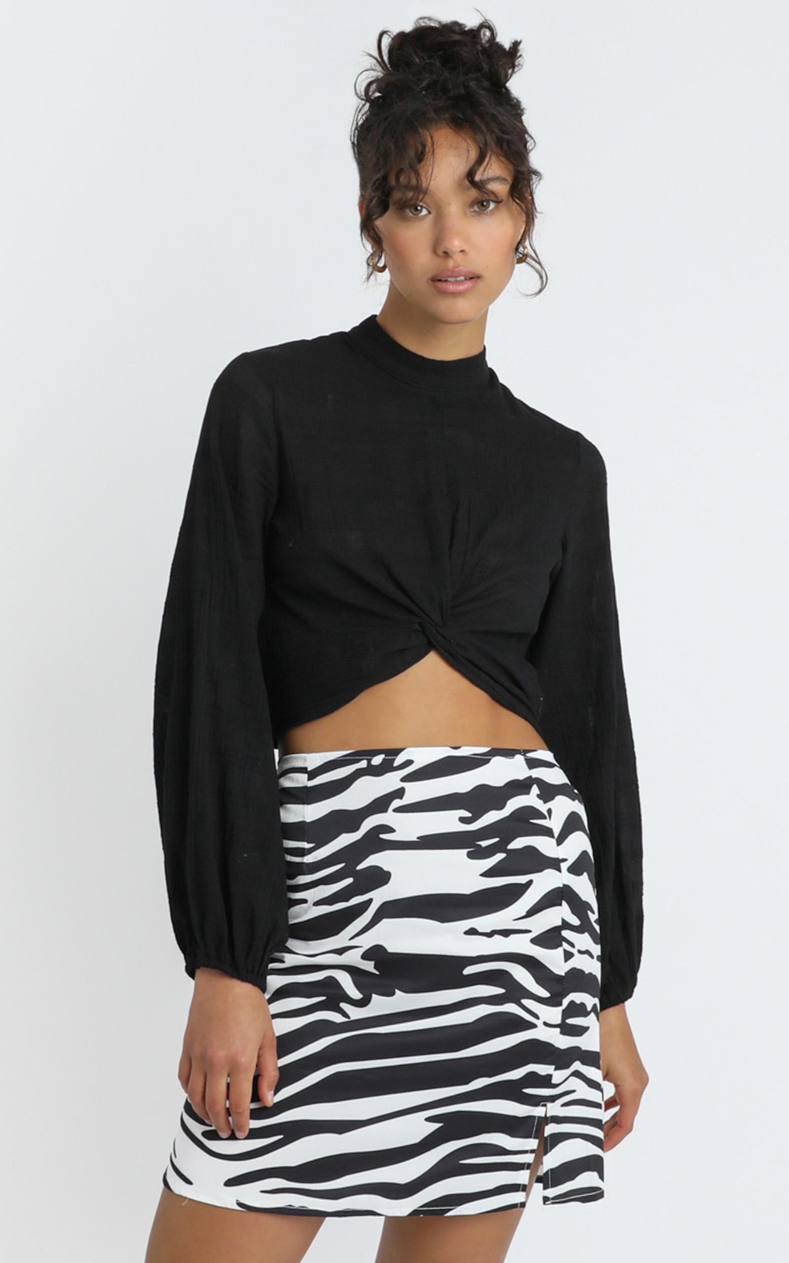 Paige Skirt in Zebra Print - 6 (XS), White, hi-res image number null