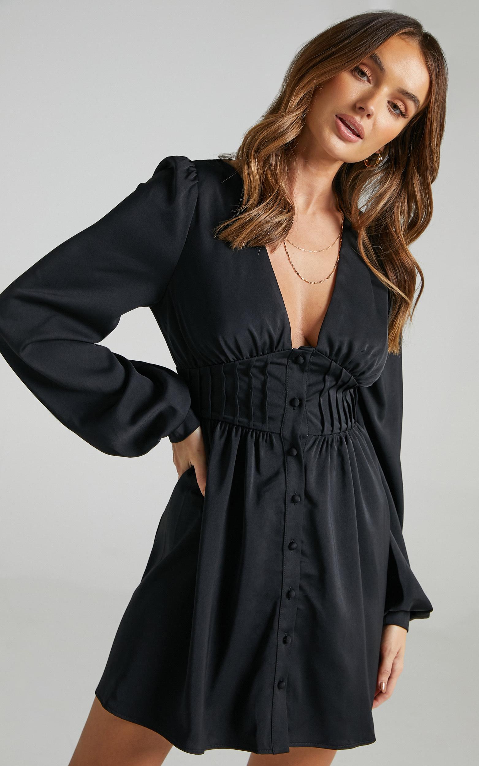 Barley Long Sleeve Corset Mini Dress in Black - 06, BLK1, hi-res image number null