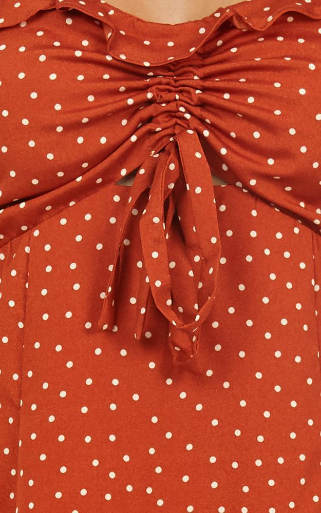 Spotty Loving Dress In Rust Spots - 14 (XL), Rust, hi-res image number null