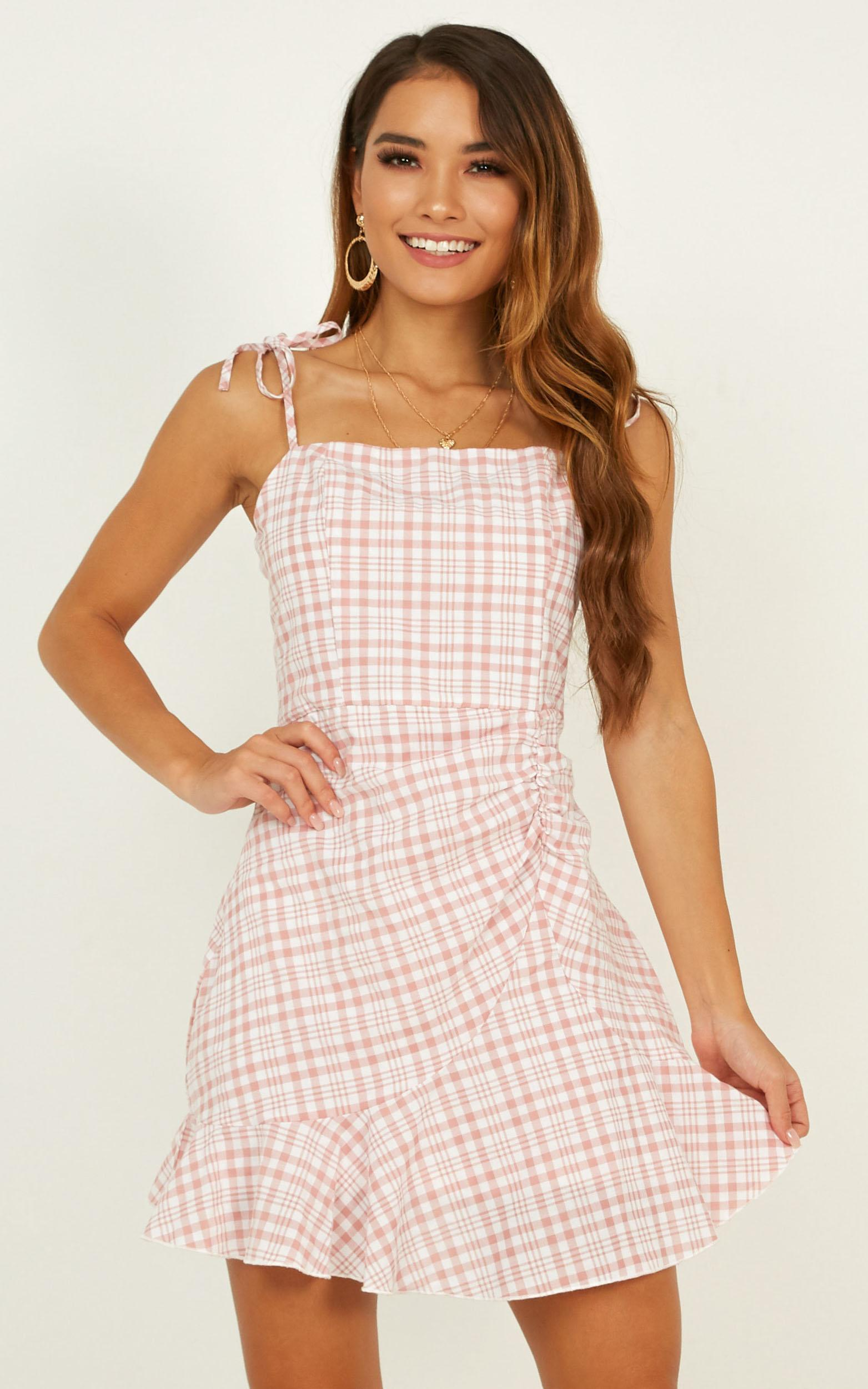 Adventure Driven Dress In Blush Check - 4 (XXS), Blush, hi-res image number null