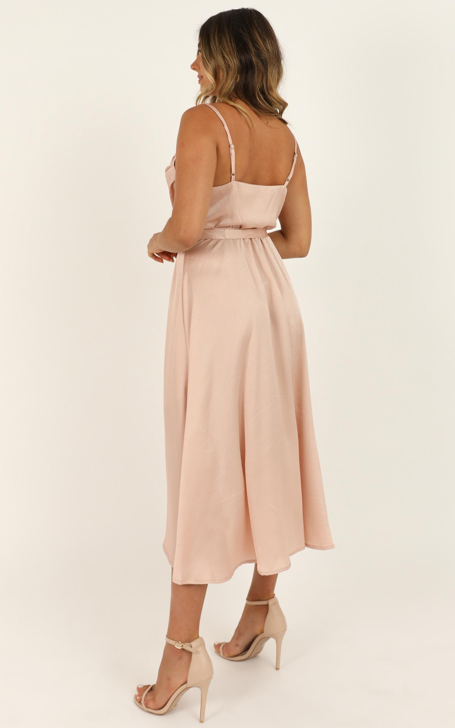 Thick And Thin Dress In Blush Satin - 16 (XXL), Blush, hi-res image number null