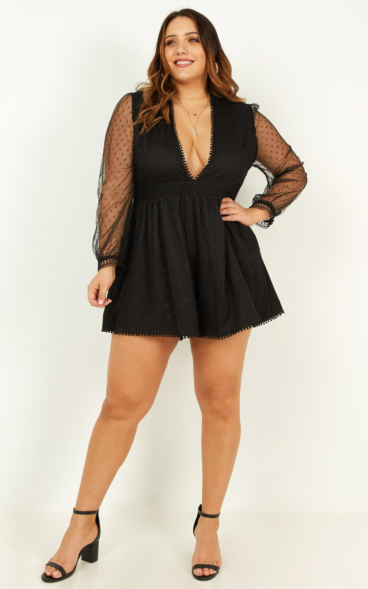 Spotted in time playsuit in black - 14 (XL), Black, hi-res image number null