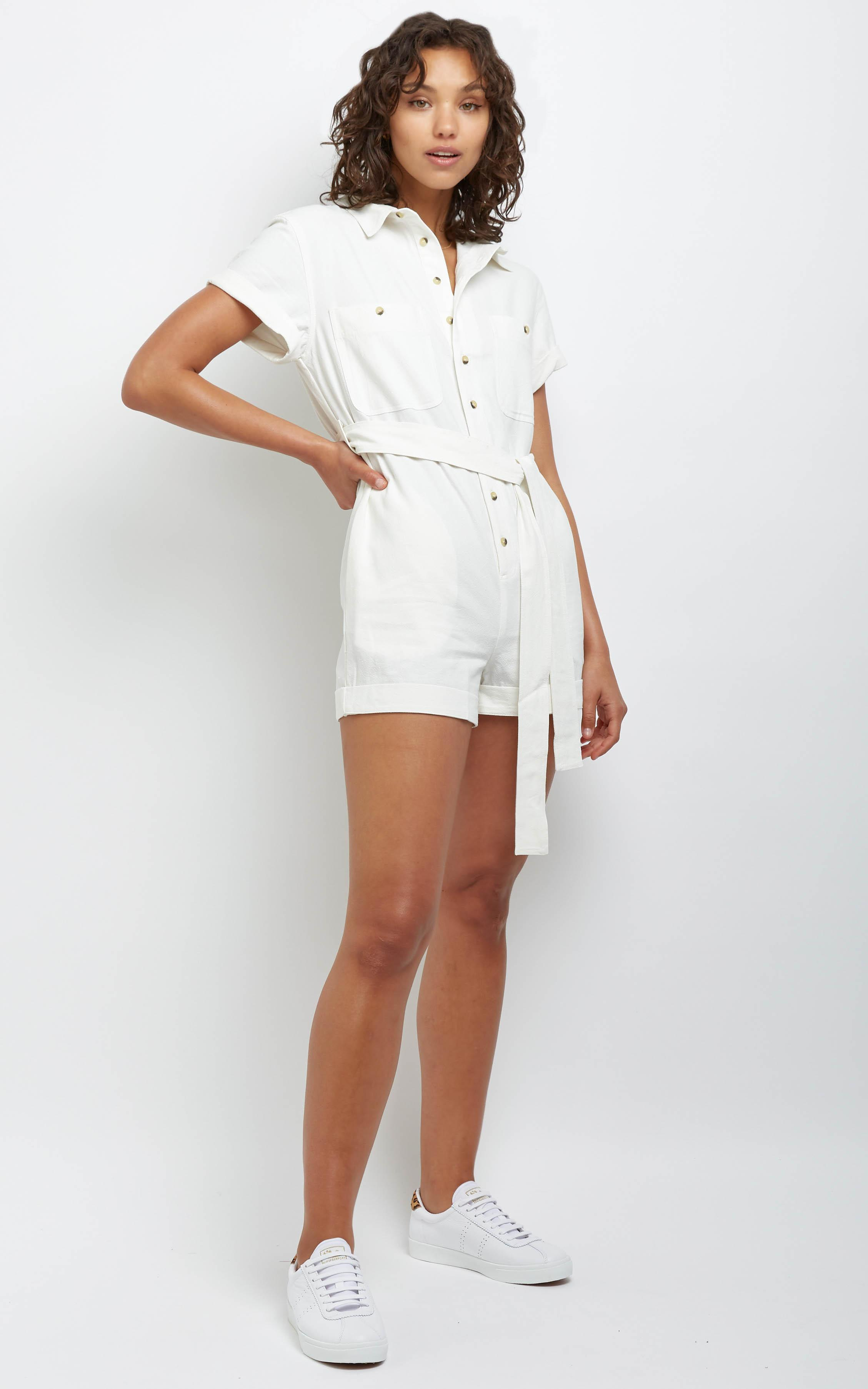 Rollas - Horizon Playsuit in Vintage White - 14 (XL), White, hi-res image number null