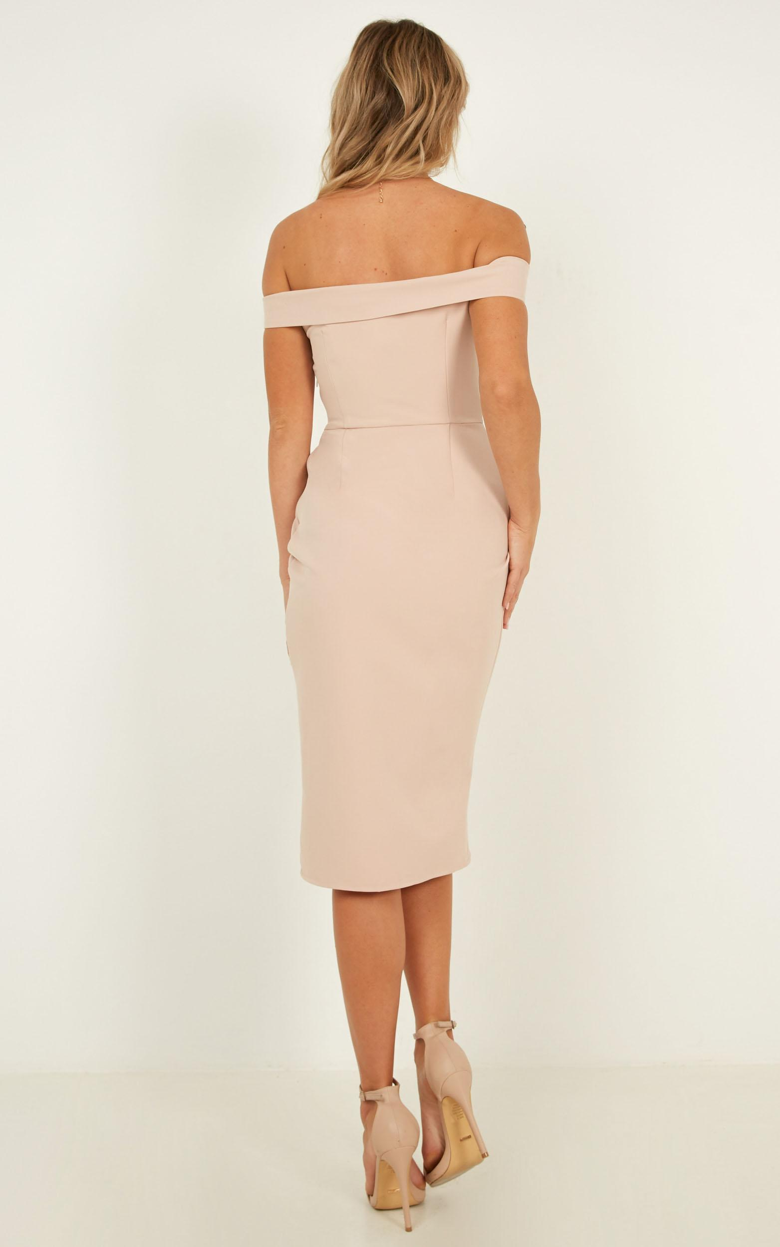 Thank You Next Midi Dress In Nude, Beige, hi-res image number null