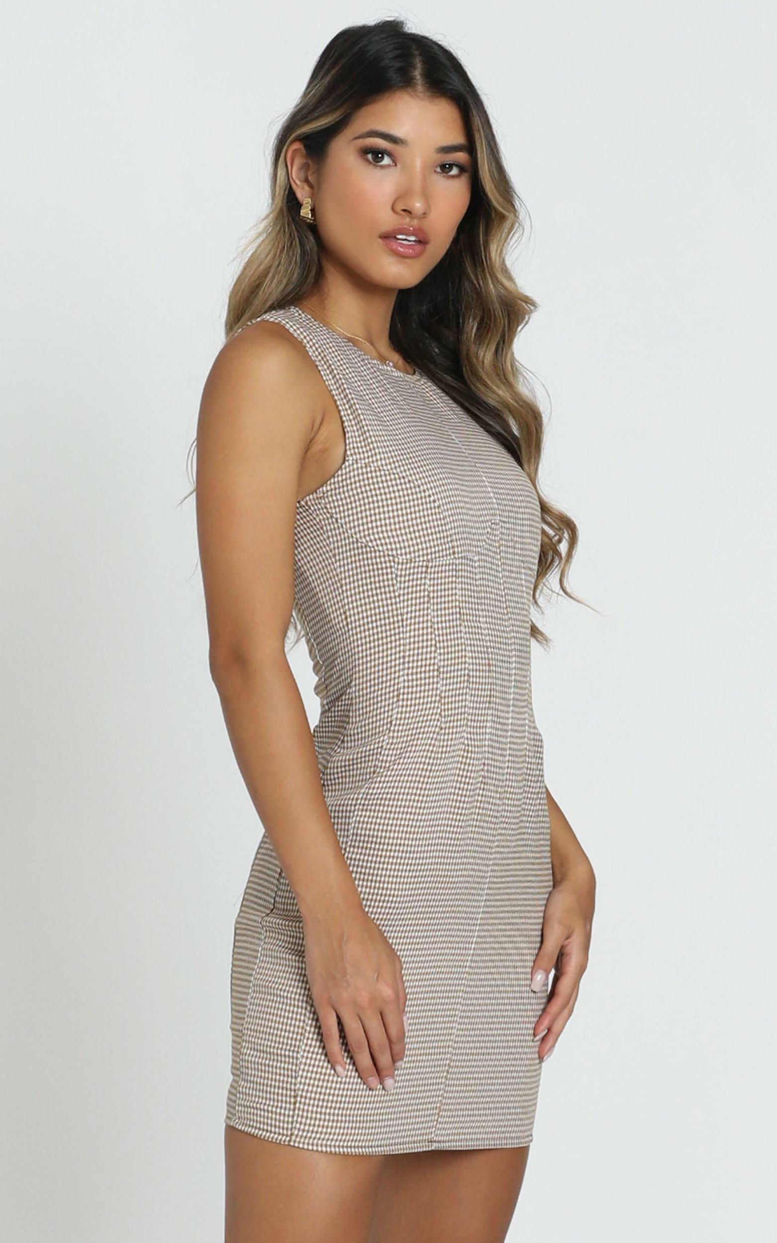 Lioness - Le Chateau Mini Dress in gingham - 12 (L), Mocha, hi-res image number null
