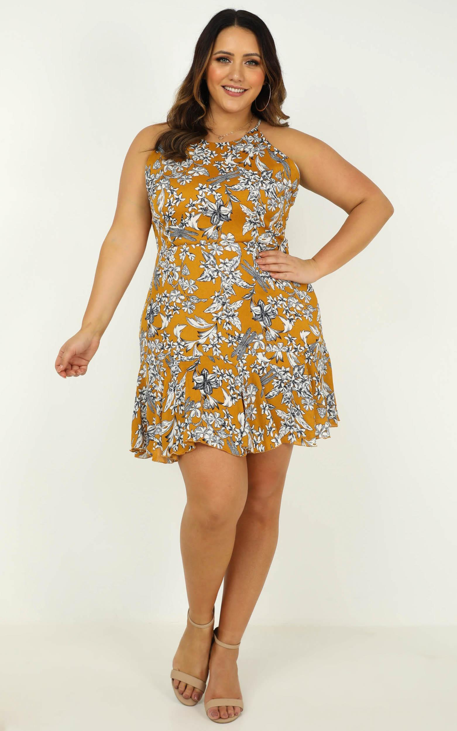 Got to live dress in mustard floral - 20 (XXXXL), Mustard, hi-res image number null