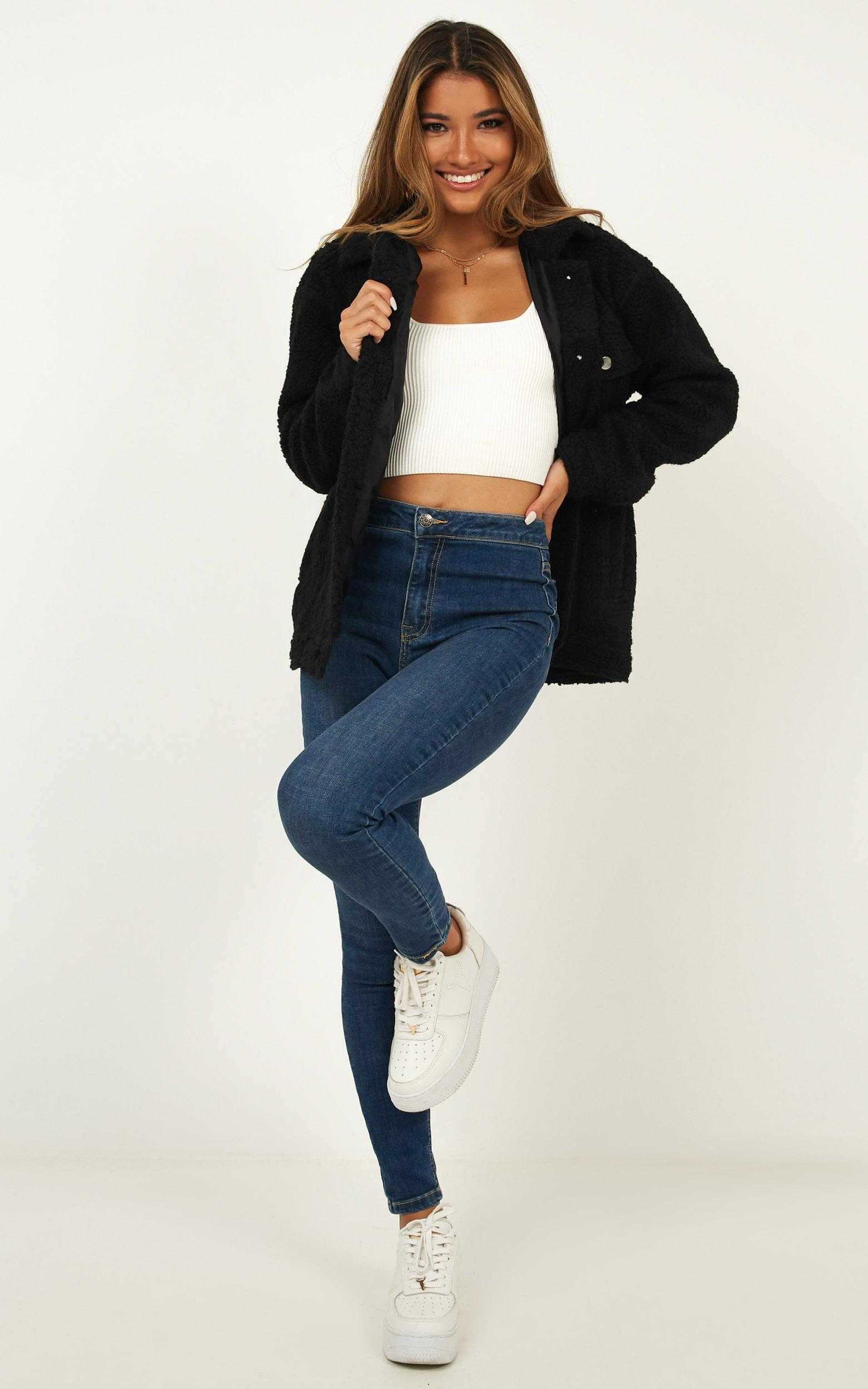 Future Faces Jacket in black teddy - 20 (XXXXL), Black, hi-res image number null