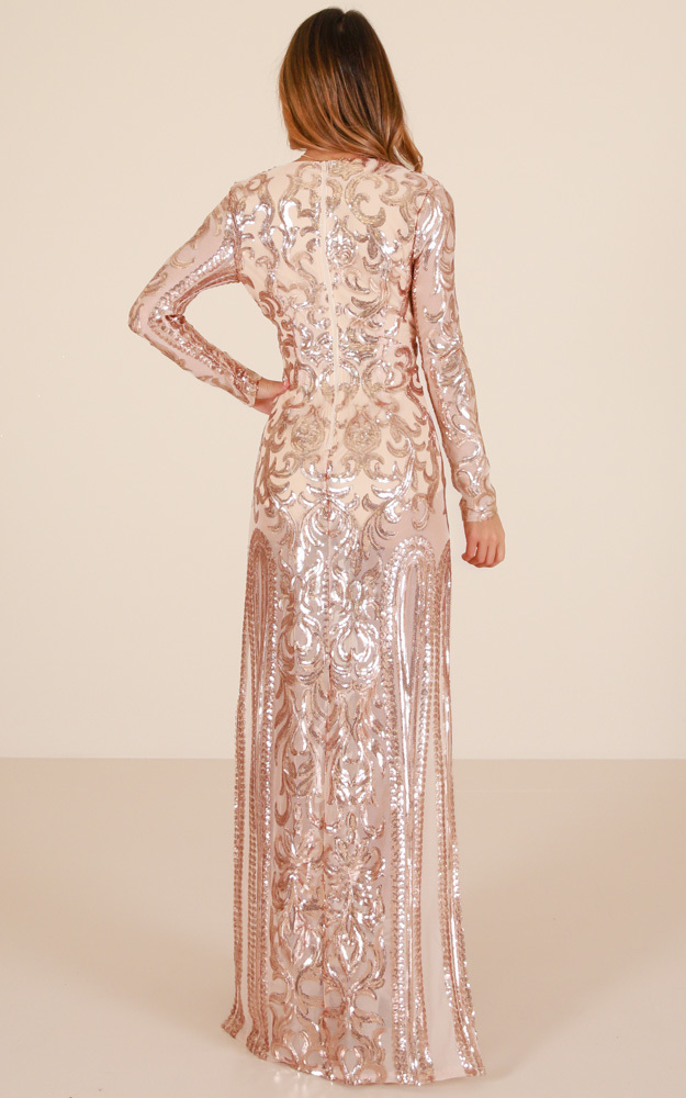 The Best Option maxi dress in rose gold sequin - 8 (S), Rose Gold, hi-res image number null