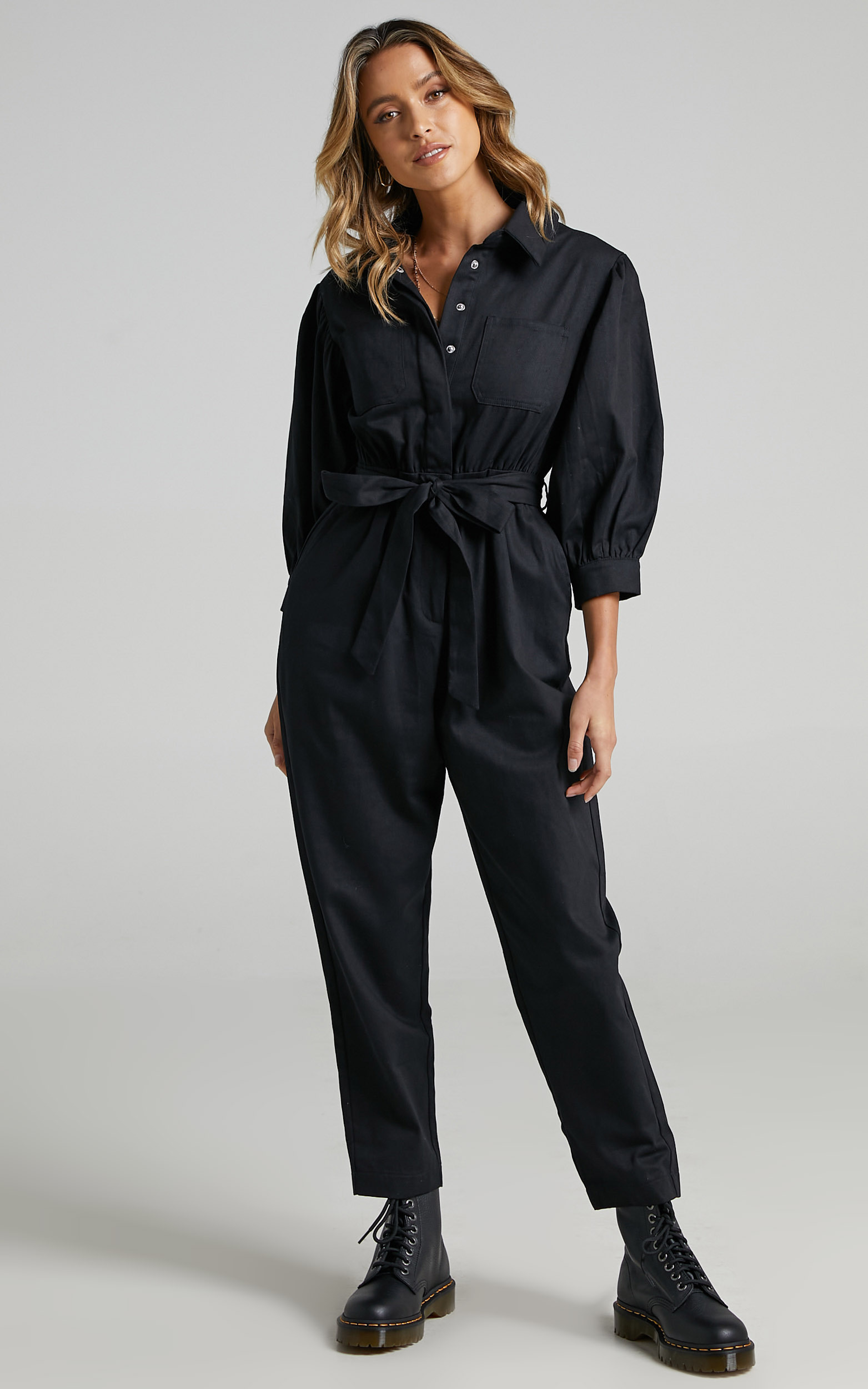 Bradfield Centre Tie Collared Jumpsuit in Black - 06, BLK1, hi-res image number null