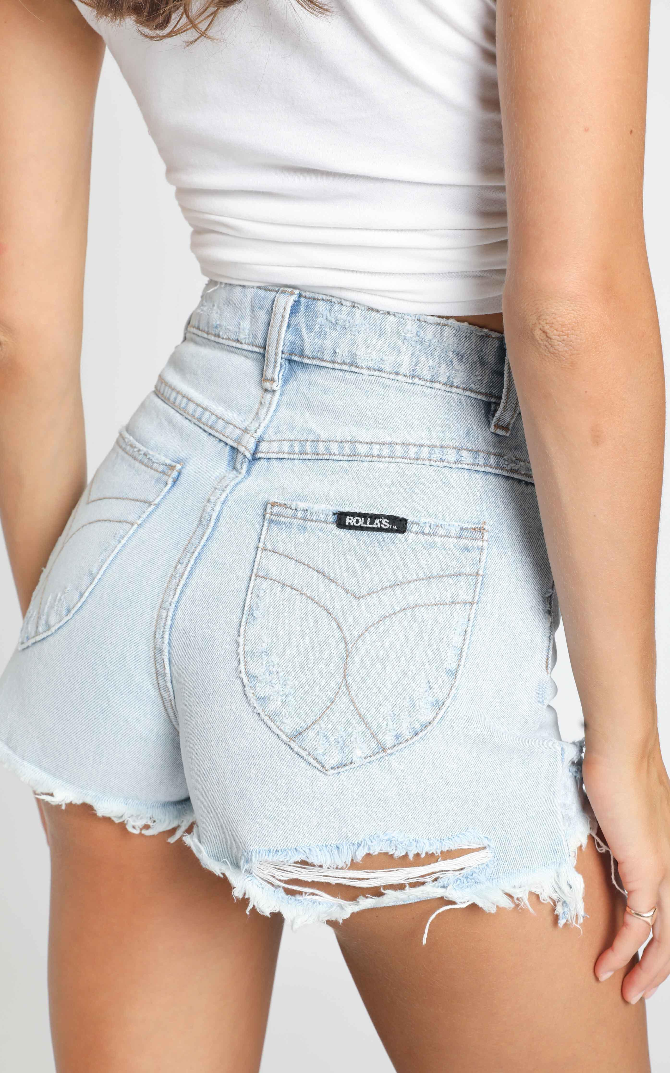 Rollas x Sofia Richie - Dusters Denim Short In Layla Bleach - 14 (XL), Blue, hi-res image number null