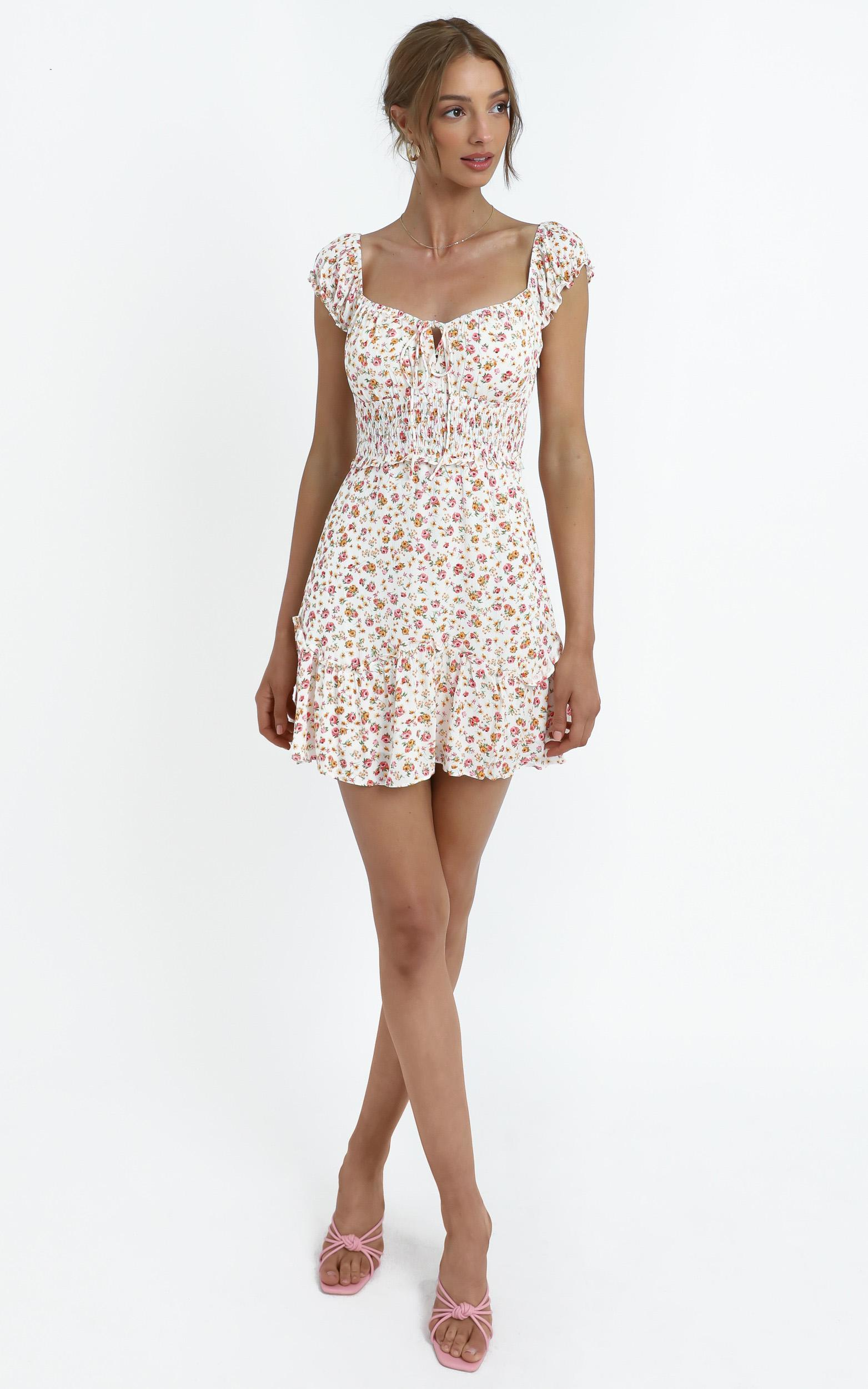 Althia Dress in White Floral - 12 (L), White, hi-res image number null
