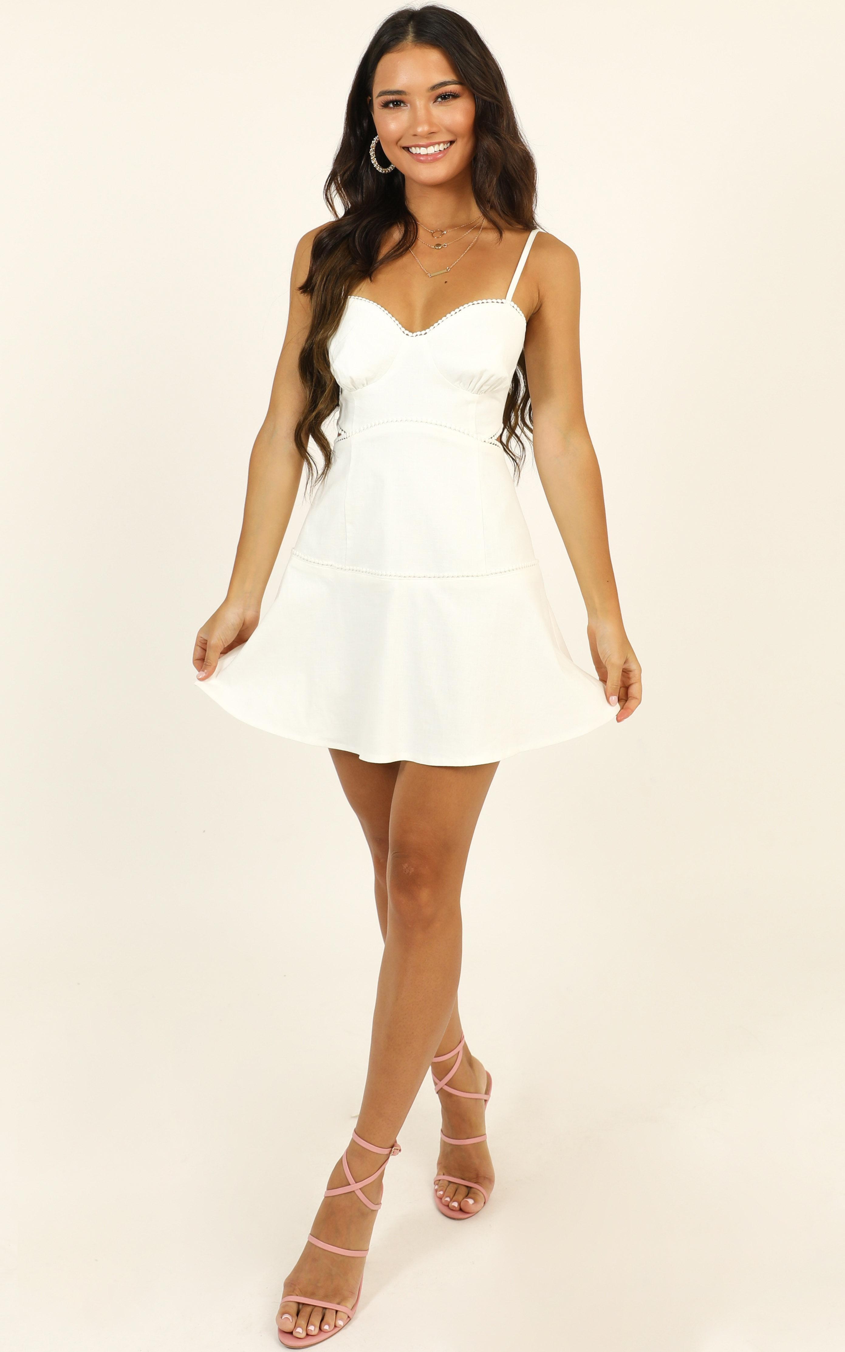 Tell Me How To Love Dress in white linen look - 14 (XL), White, hi-res image number null