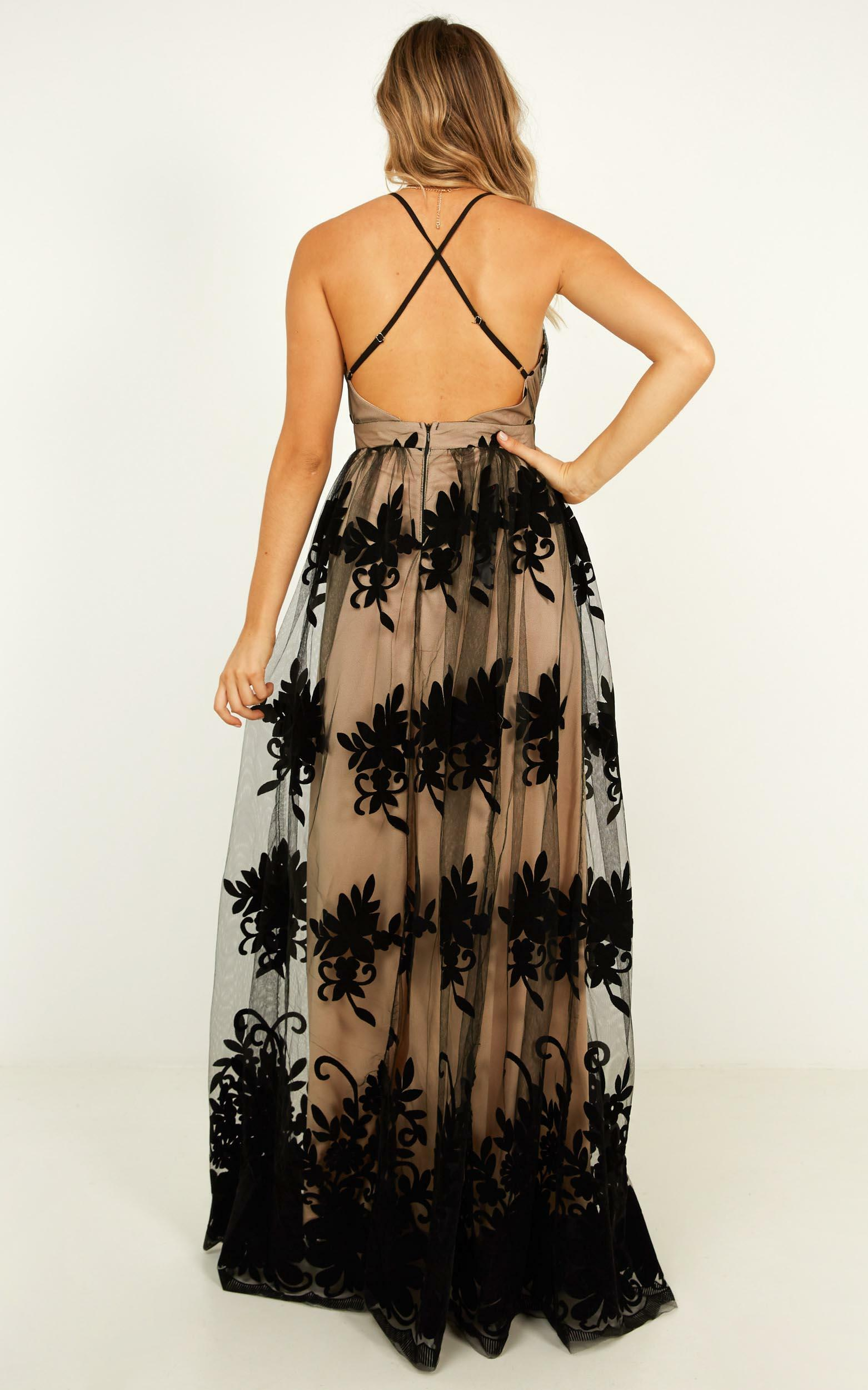 Promenade maxi dress in black and nude - 12 (L), Black, hi-res image number null