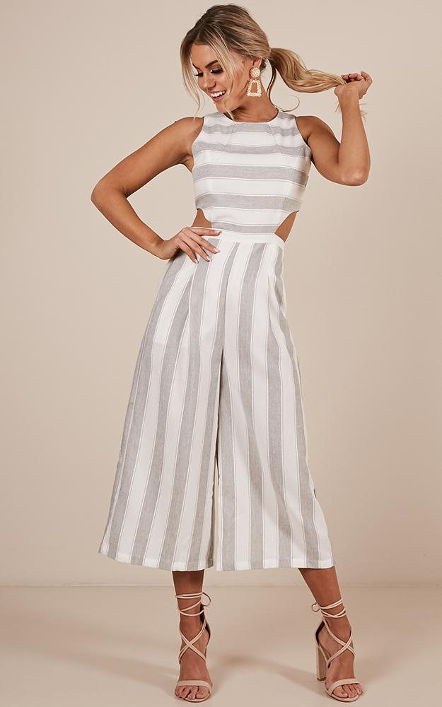 Out Dream Yourself jumpsuit in grey stripe  linen look  - 18 (XXXL), Grey, hi-res image number null