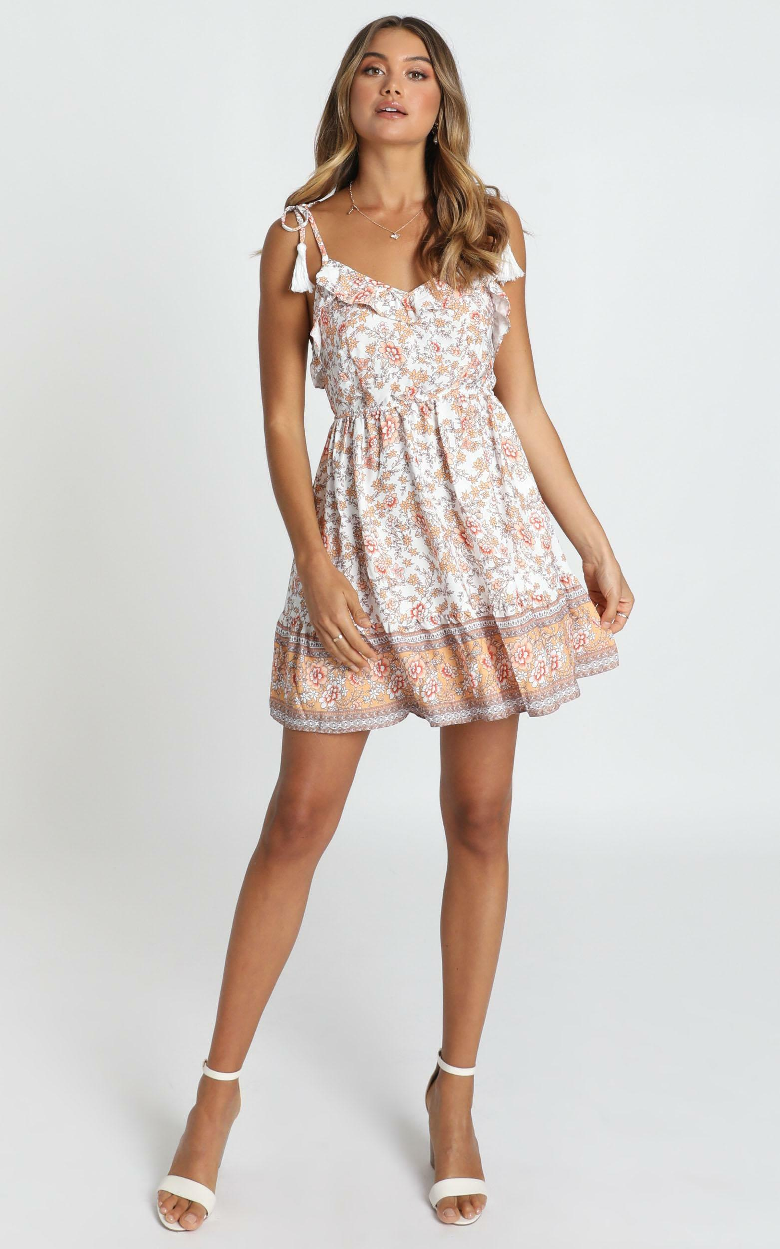 Lillian Tie Strap Dress in white floral - 12 (L), White, hi-res image number null