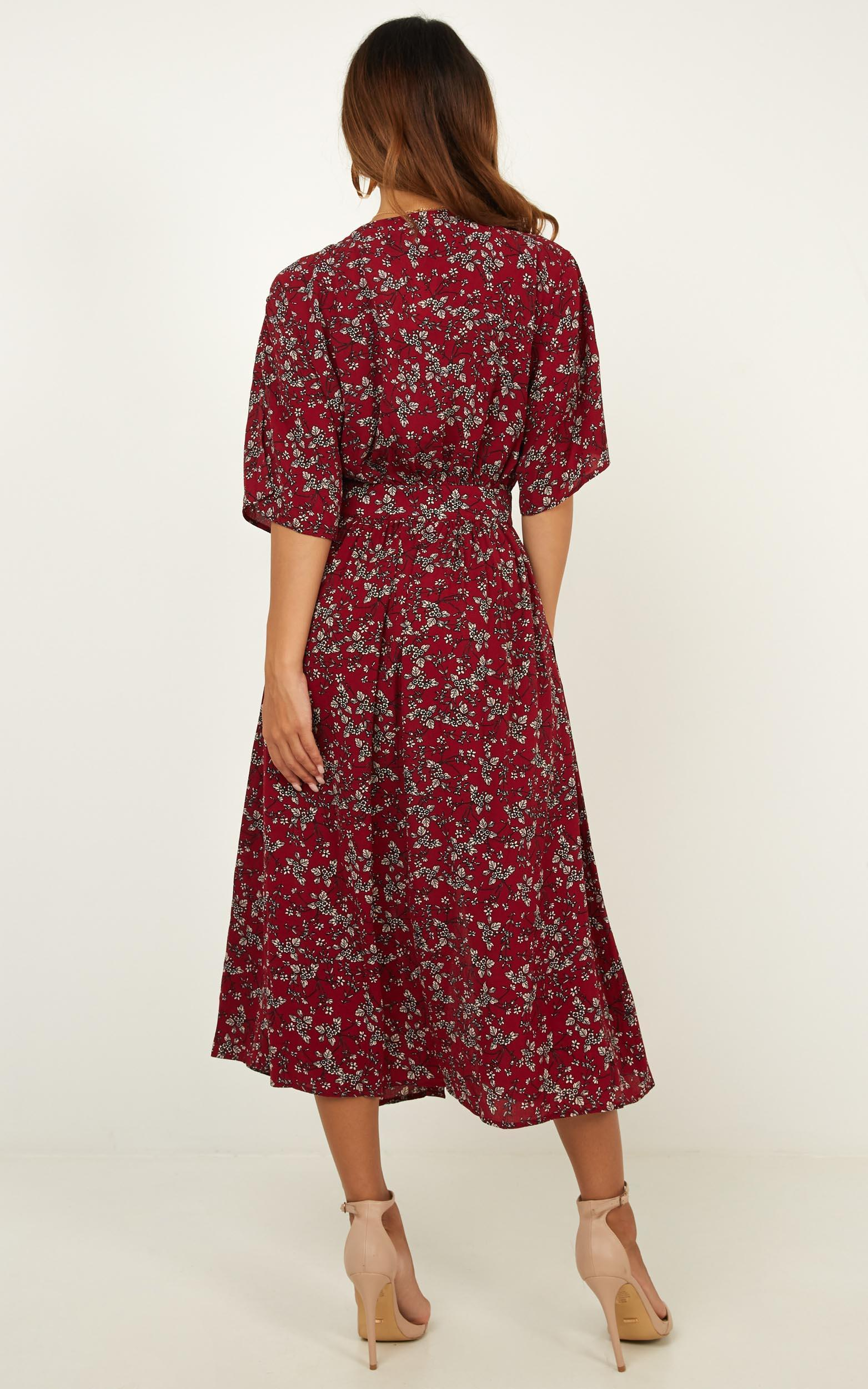 Inner Circle Only Dress in wine floral - 12 (L), Wine, hi-res image number null