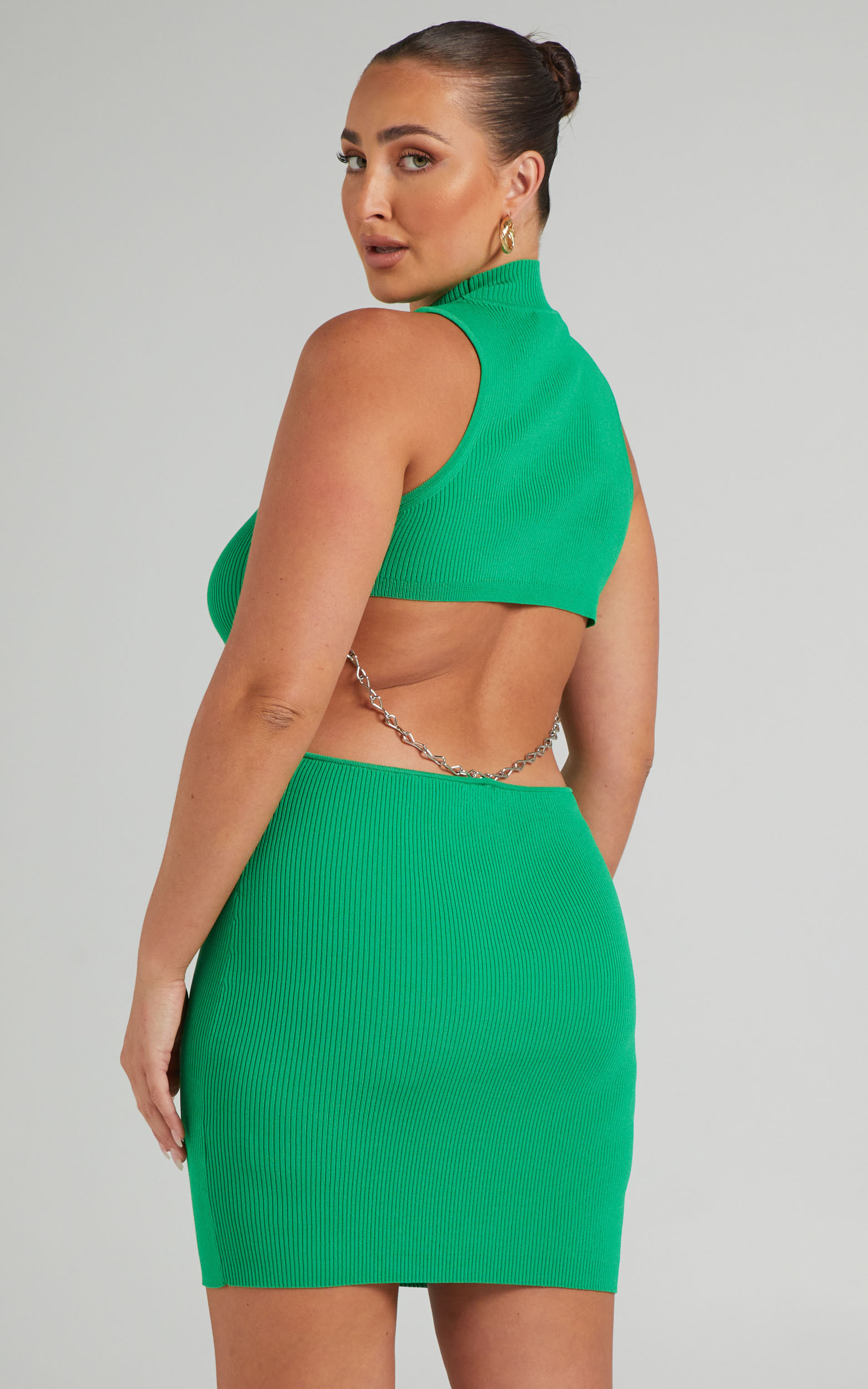 LIONESS - JADORE CHAIN MINI DRESS in Green - L, GRN1, hi-res image number null