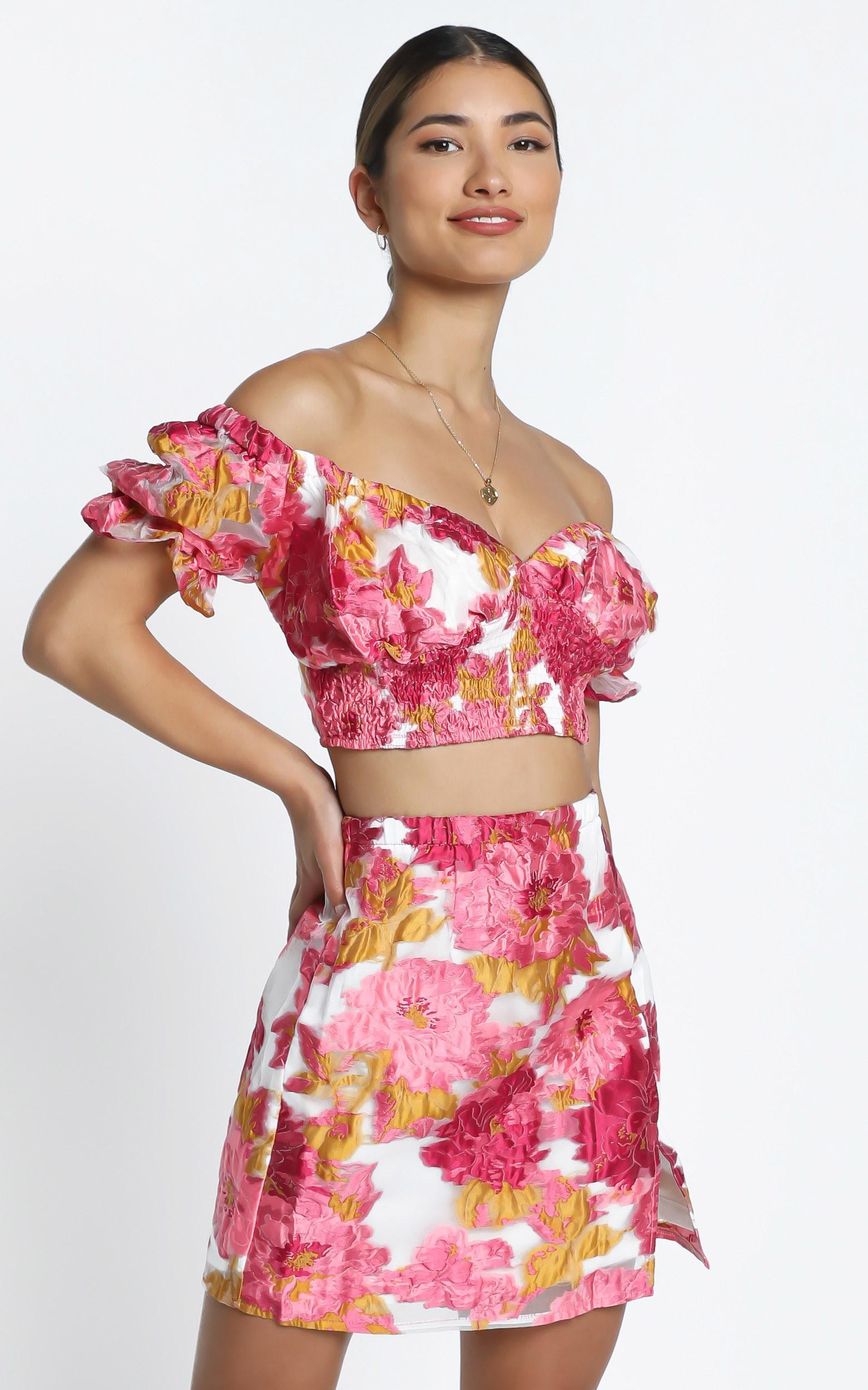 Julietta Two Piece Set in Pink Floral - 14 (XL), Pink, hi-res image number null
