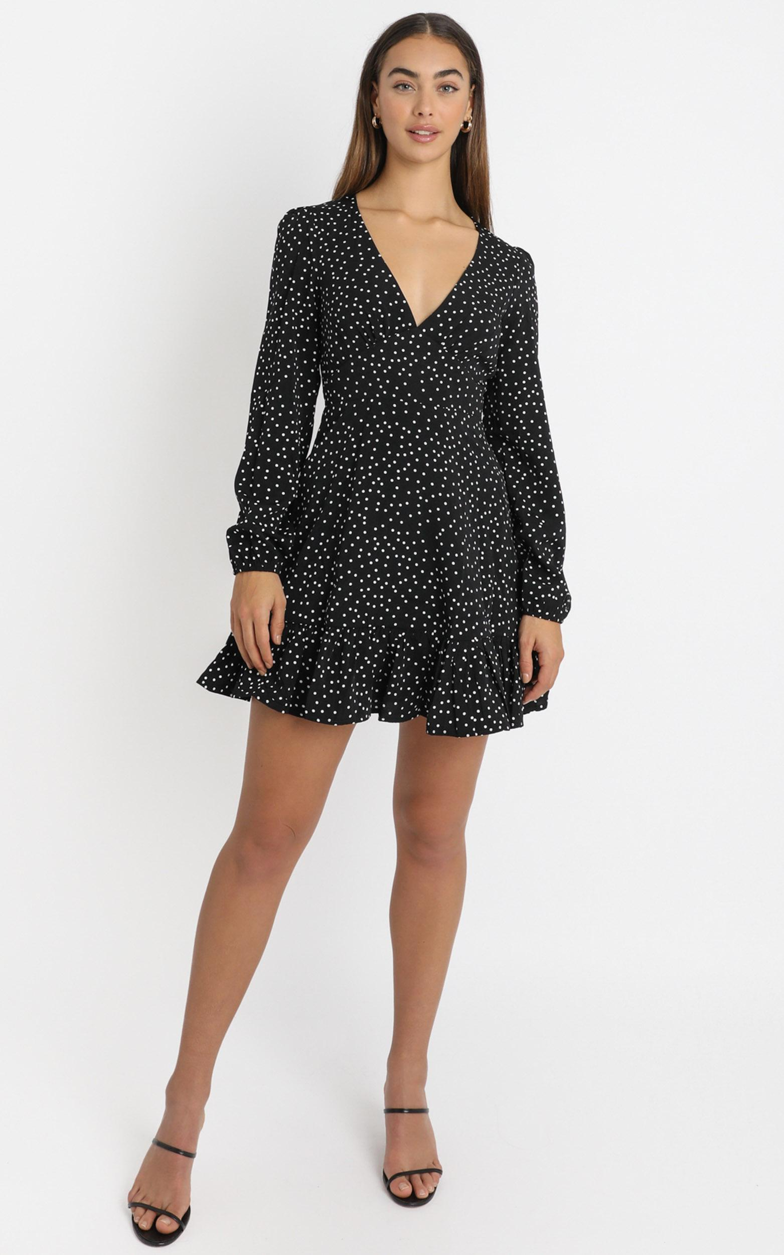 Worlds Away Dress in black polka - 20 (XXXXL), Black, hi-res image number null