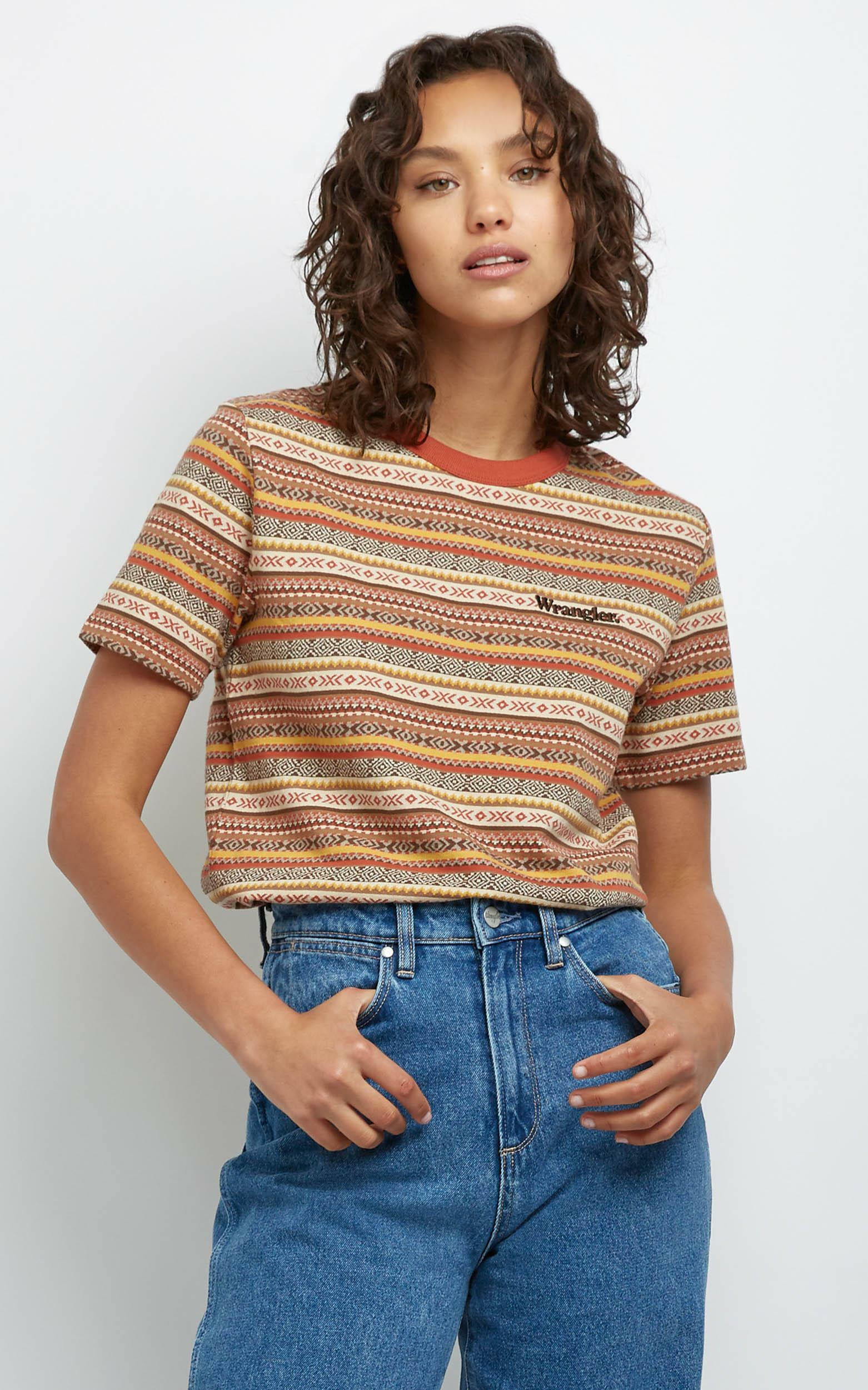 Wrangler - Wanderer Tee in Jacquard Stripe - 14 (XL), Red, hi-res image number null