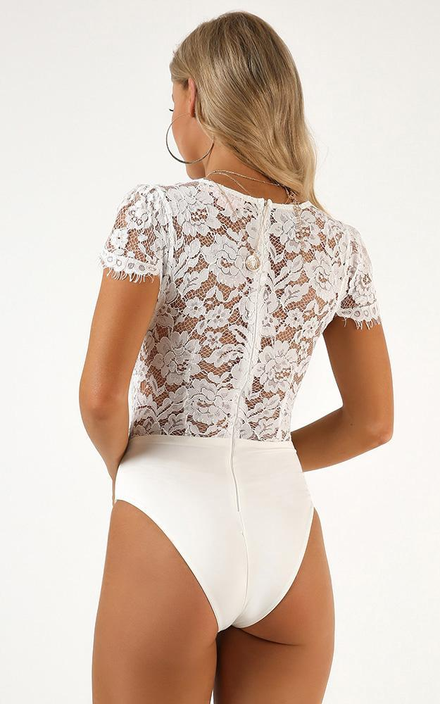 Sign Of The Times Bodysuit in white lace, White, hi-res image number null