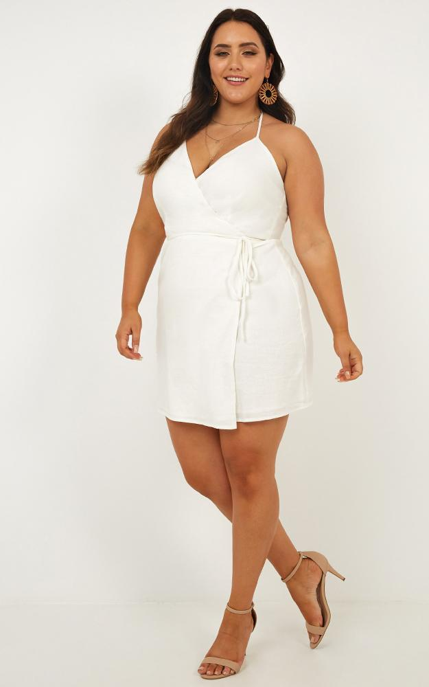 Whisper it dress in white linen look - 20 (XXXXL), White, hi-res image number null
