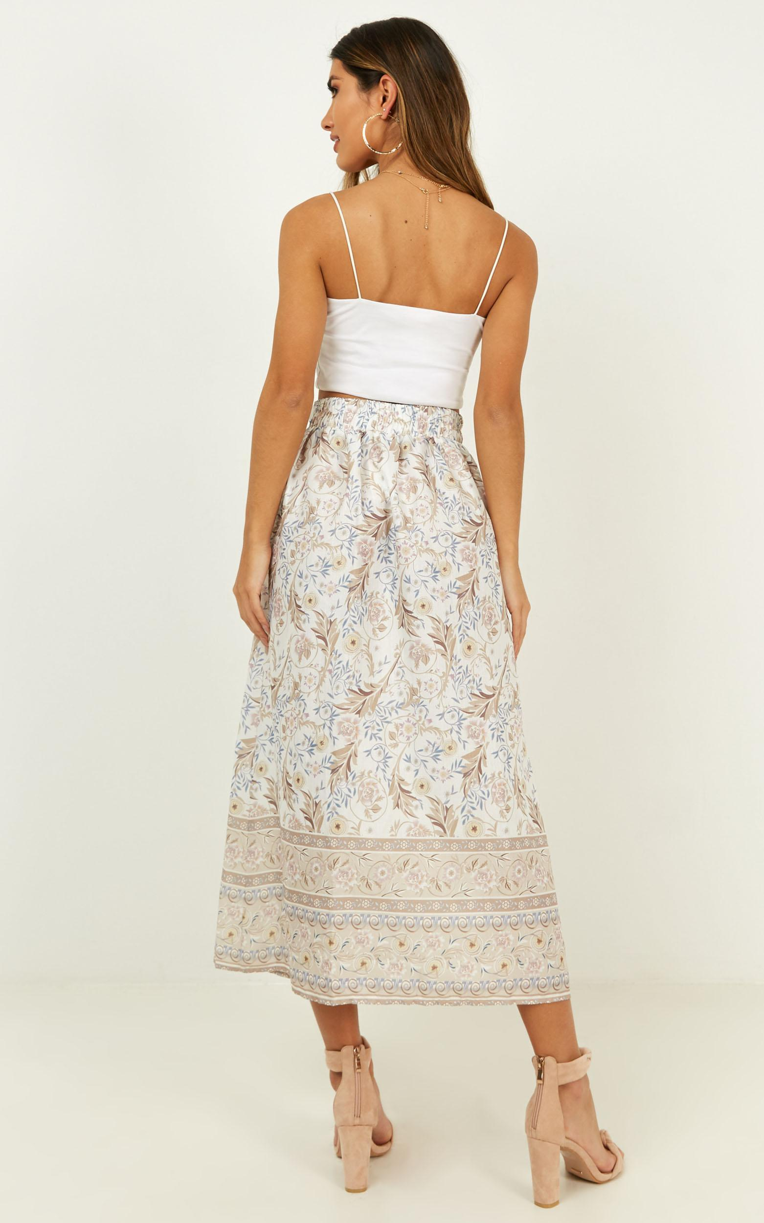 For All I Know skirt in white print - 12 (L), White, hi-res image number null