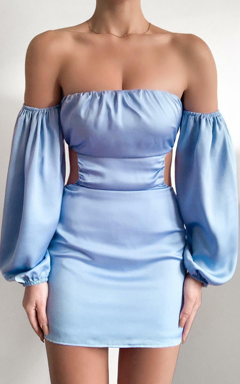 Caitlyn Cut Out Side Mini Dress In blue satin - 6 (XS), Blue, hi-res image number null