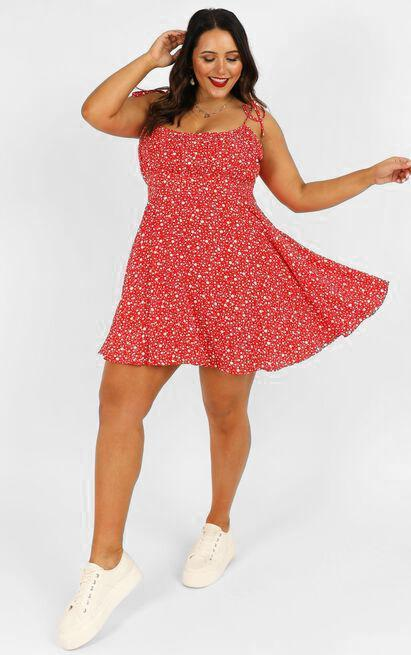 Summer Jam Dress in red floral print - 4 (XXS), Red, hi-res image number null