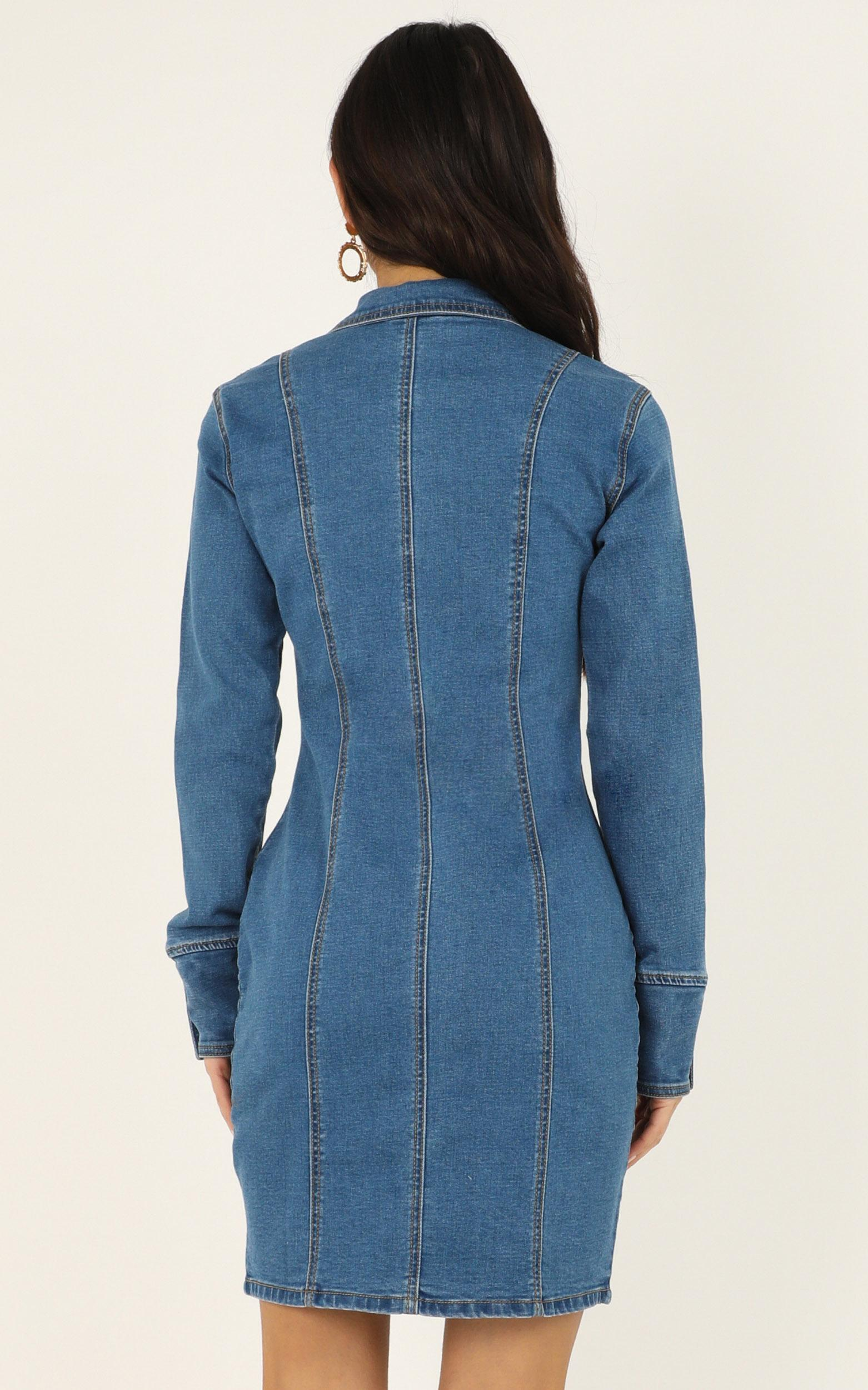 Somebody New Dress In mid blue denim - 18 (XXXL), Blue, hi-res image number null