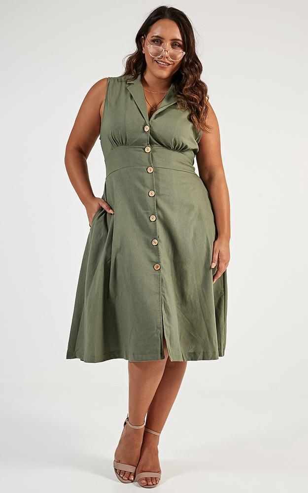 Let It Be Dress in khaki linen look - 20 (XXXXL), Khaki, hi-res image number null