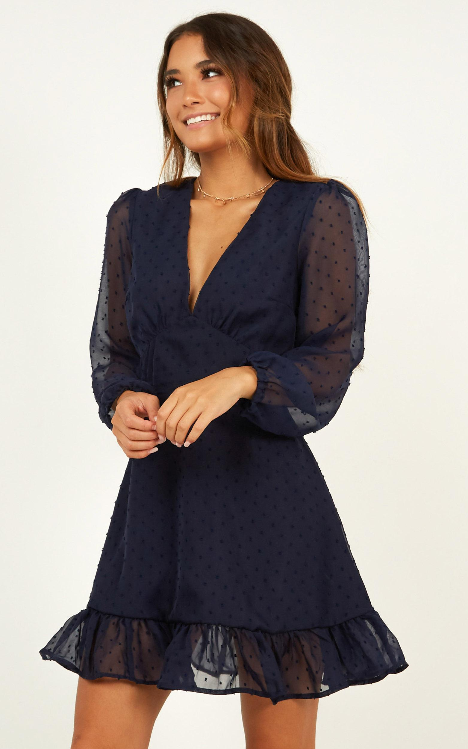 Classic crush dress in navy - 20 (XXXXL), Navy, hi-res image number null