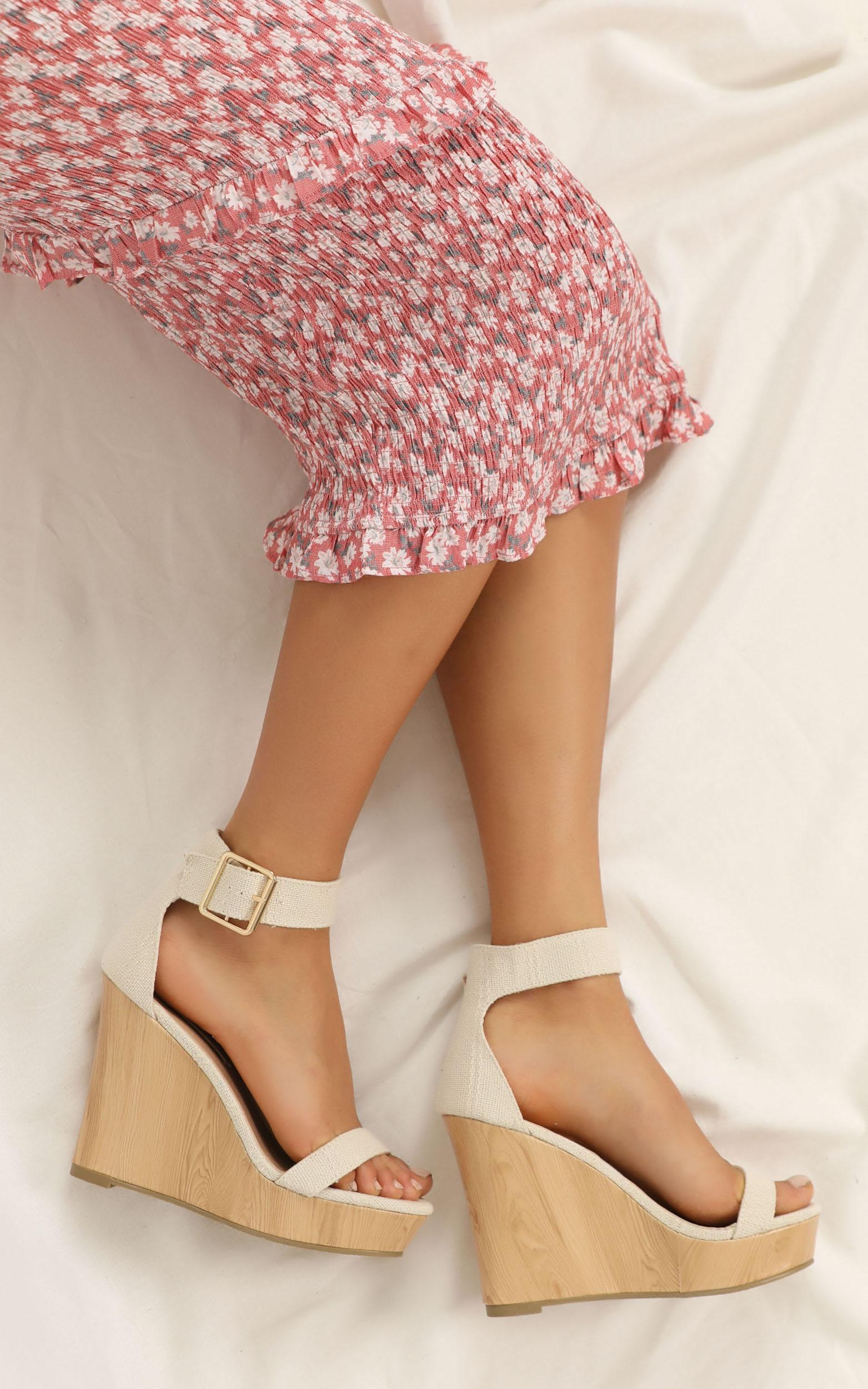 Billini - Seychelles wedges in cream woven - 10, Cream, hi-res image number null